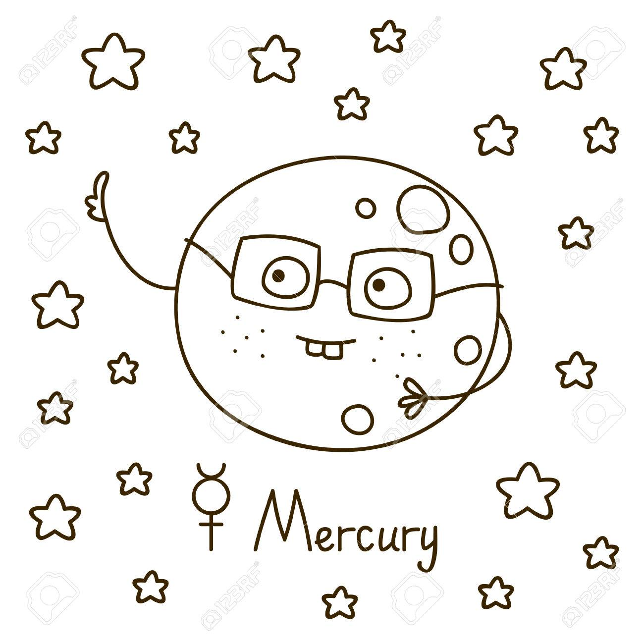 Cute Cartoon Mercury For Coloring Book Royalty Free Cliparts