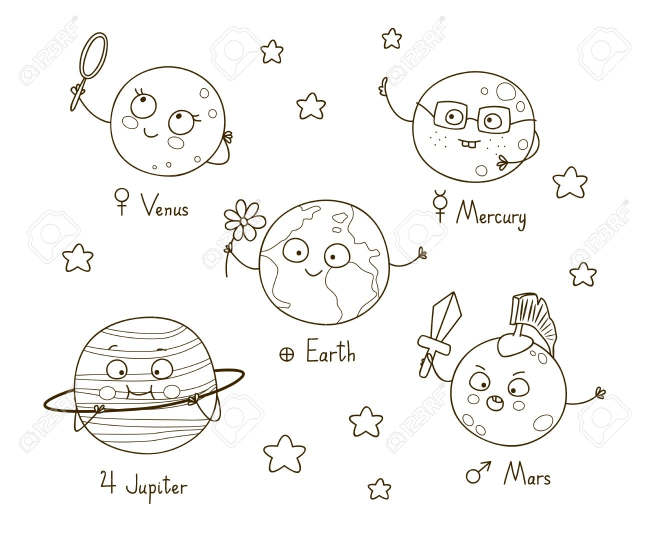 Cute cartoon planets for coloring book