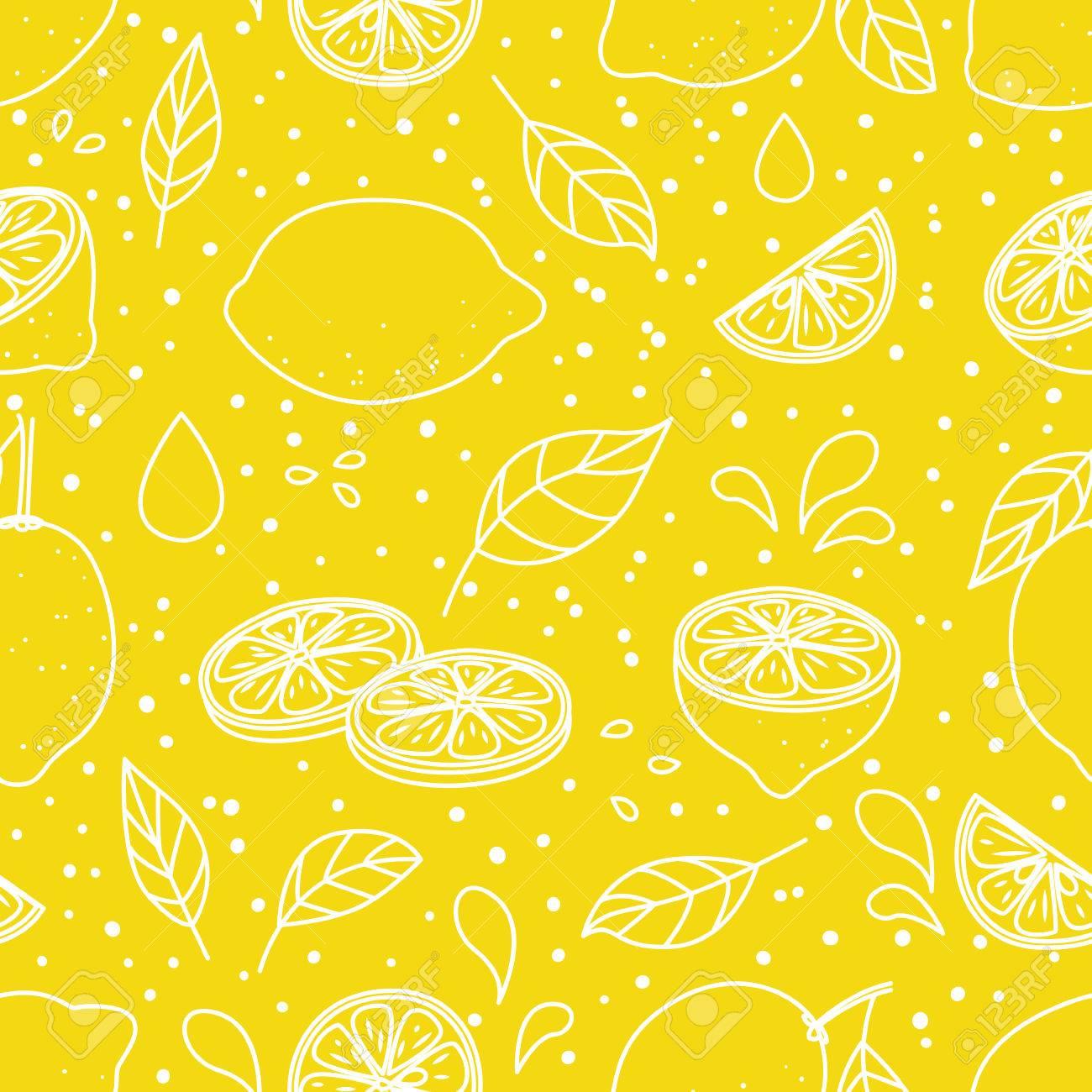 Seamless pattern with juicy lemons - 56500856