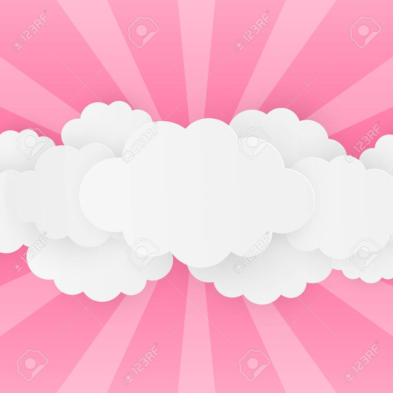 Paper clouds on pink background - 57254266