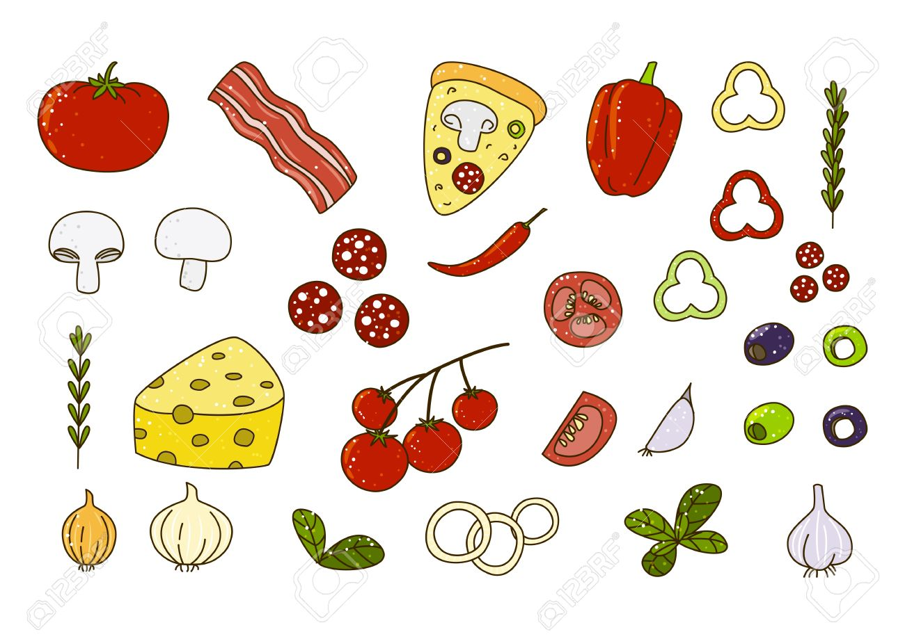 set of pizza ingredients for your design royalty free cliparts rh 123rf com Pizza Clip Art for Teachers Pizza Clip Art for Teachers
