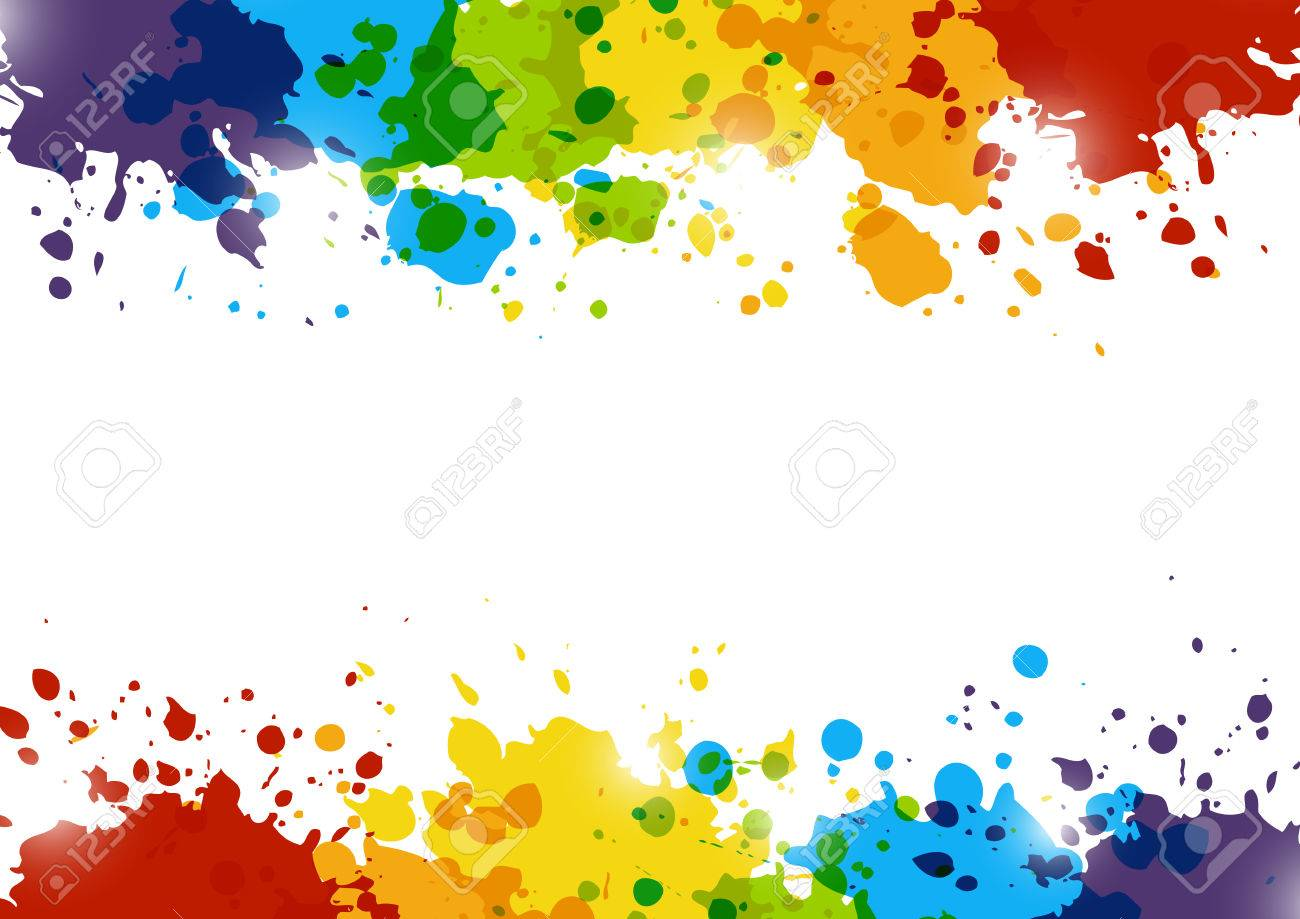 Abstract background with rainbow paint splashes - 58669058