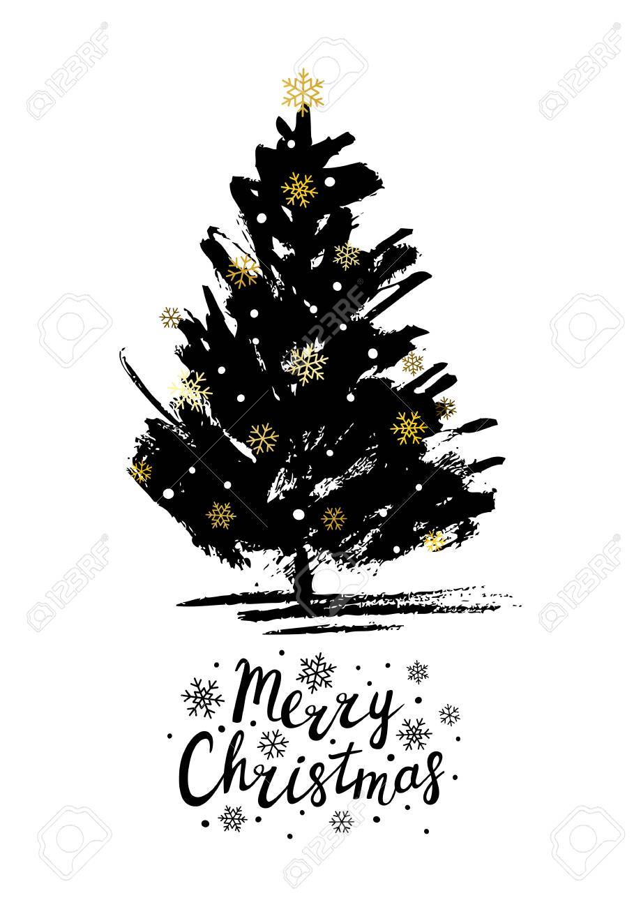 Christmas Greeting Card With Xmas Tree Sketch Royalty Free Cliparts