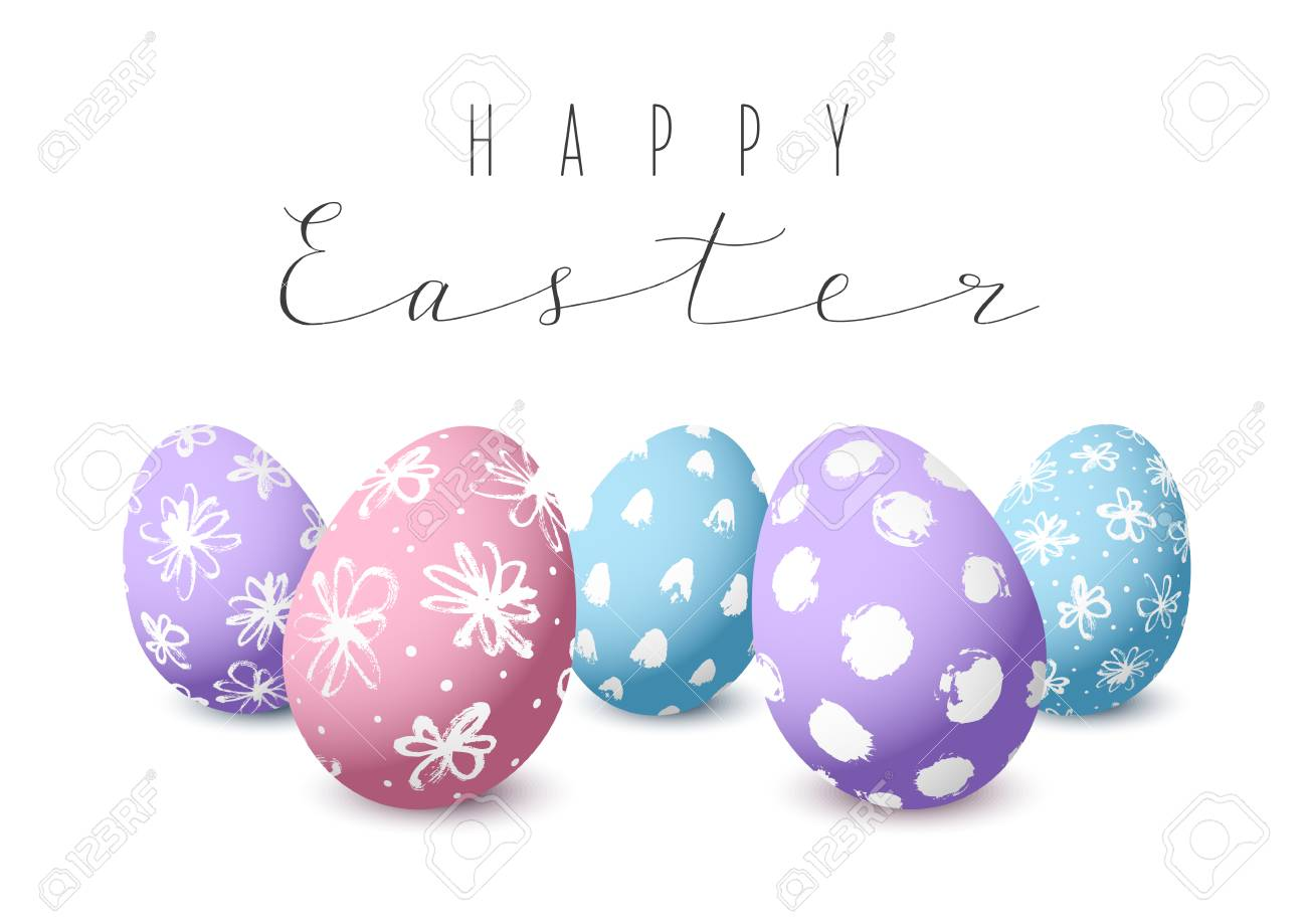 Easter Card With Color Decorated Eggs Royalty Free Cliparts Vectors