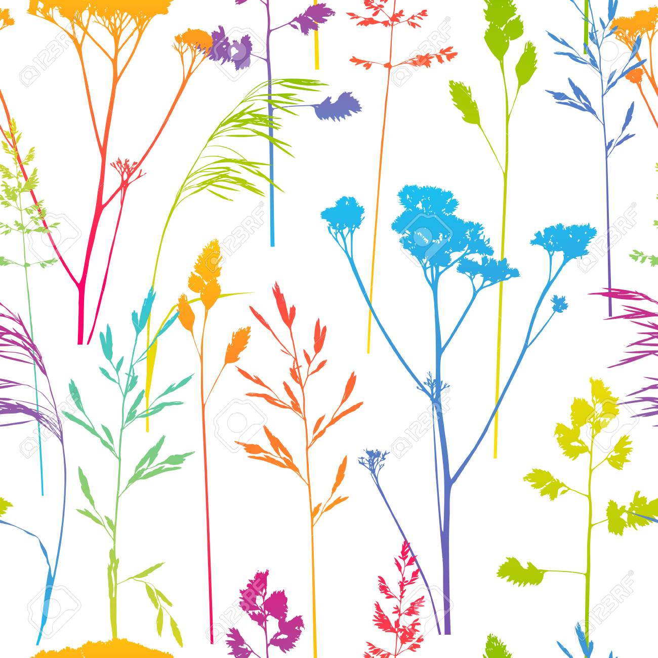 Seamless pattern with herbal silhouettes - 104617025