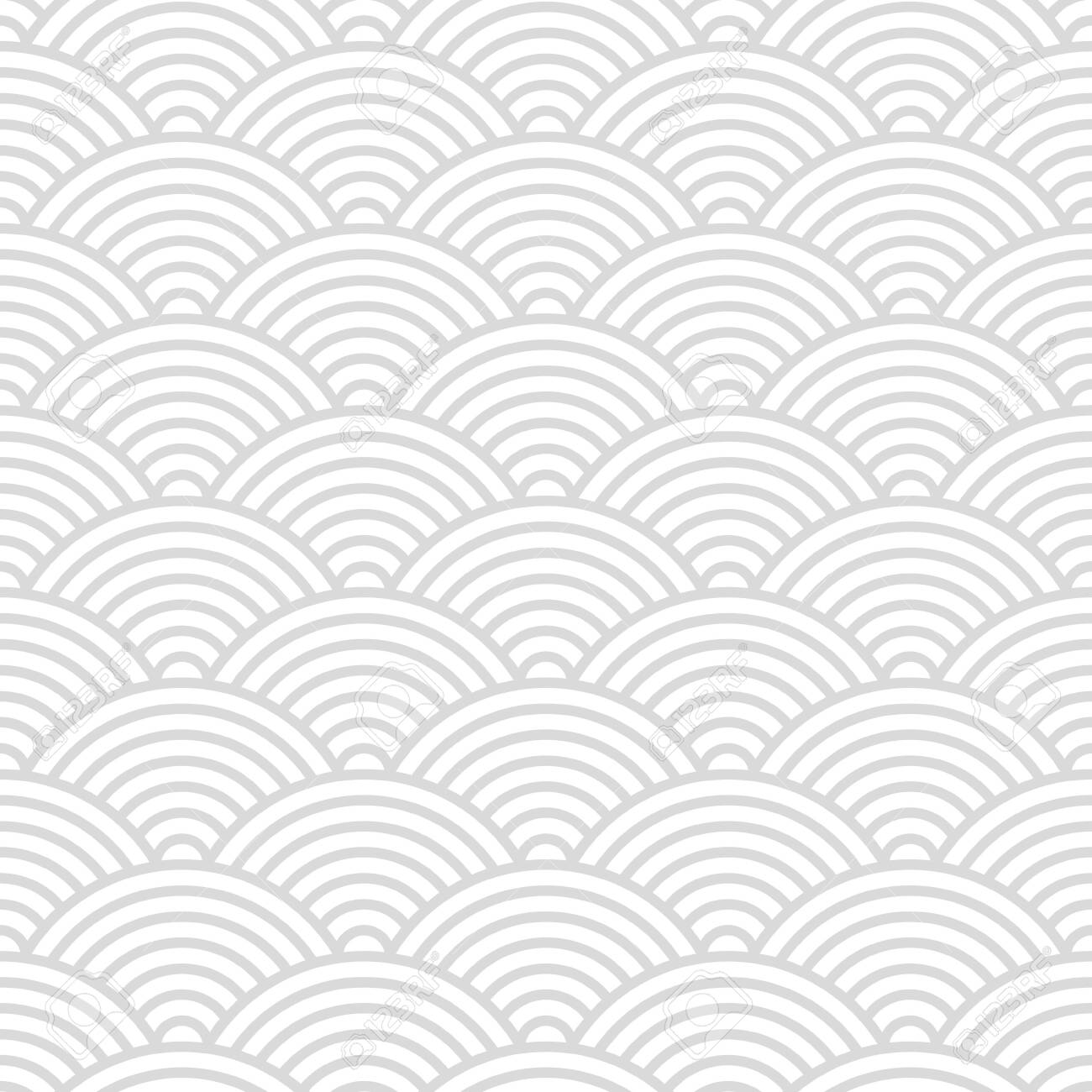 Seamless pattern with Japanese style gray and white circles ornate for your design - 131051687
