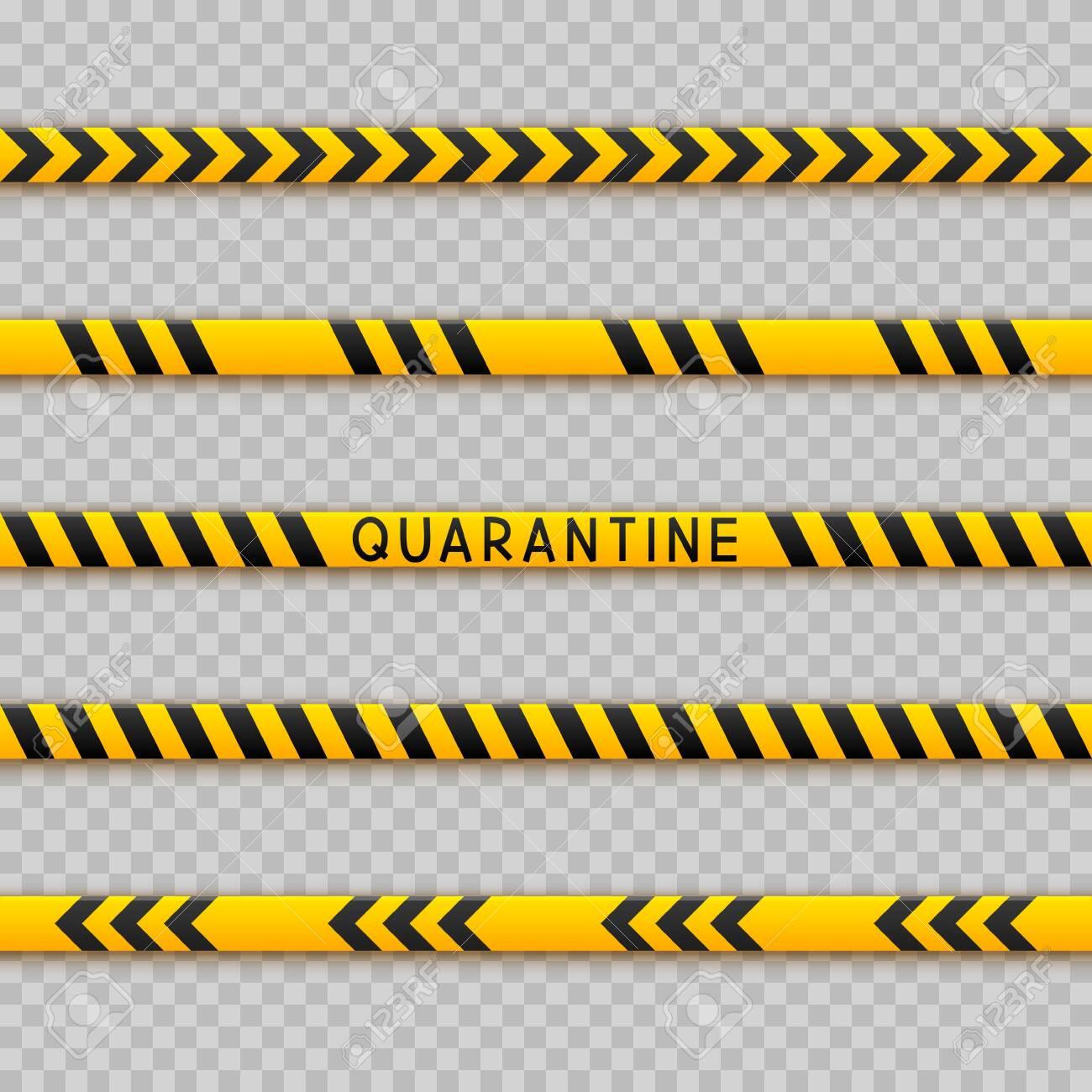 Set of seamless signal tape borders for quarantine coronavirus design on transparent background - 147408018