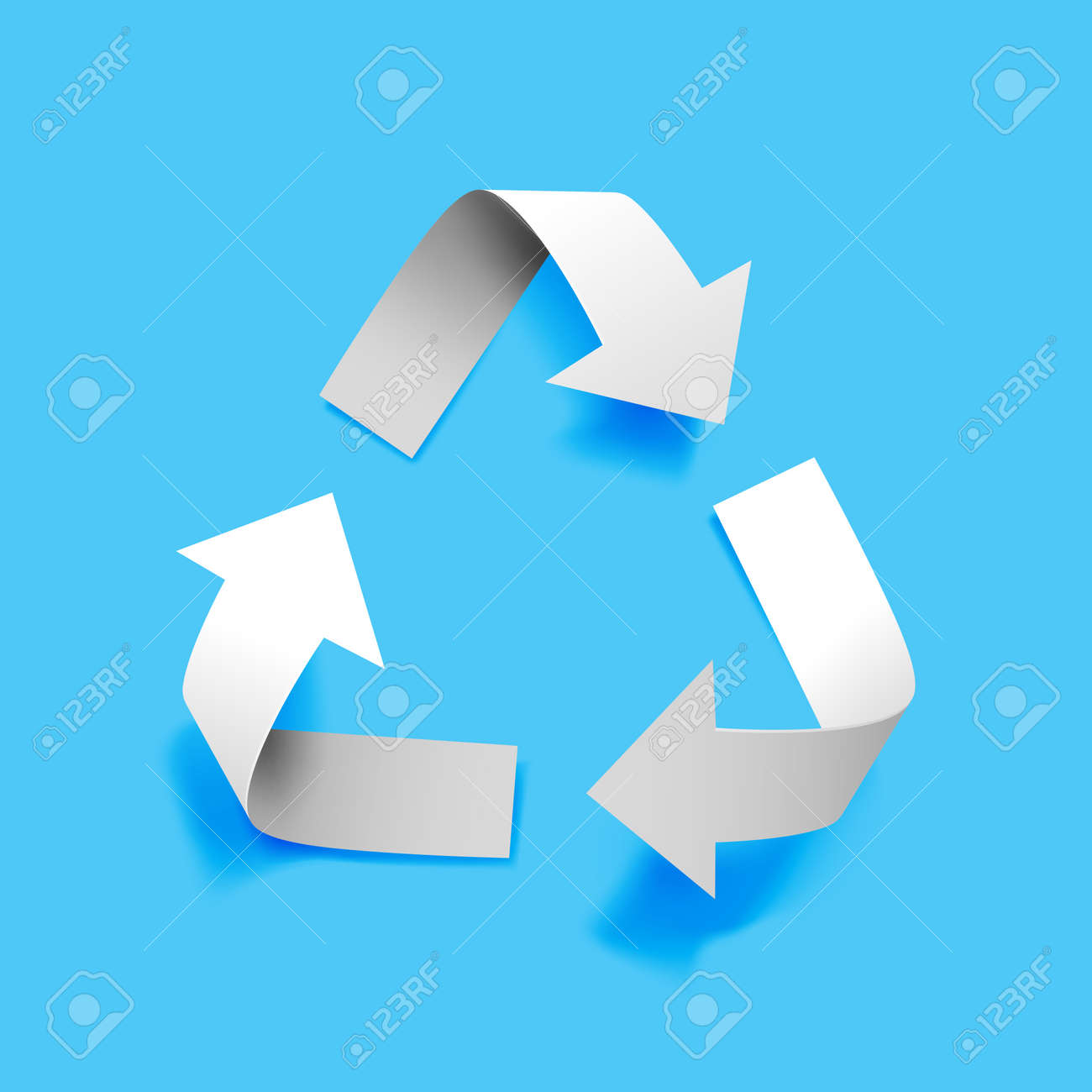 Vector paper recycling symbol on blue background for eco aware design - 169587200