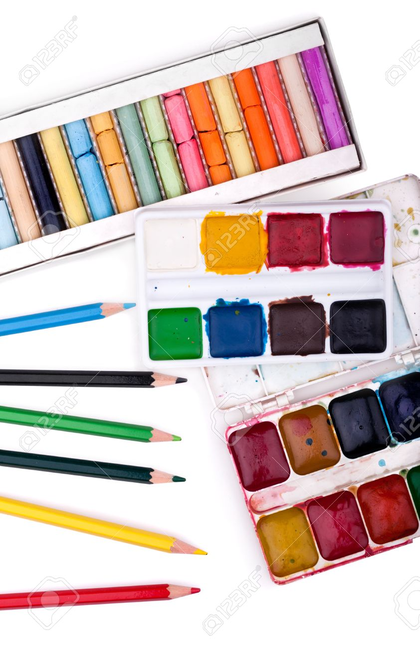 School supplies. Watercolor, pencil and pastel colors isolated on white background Stock Photo - 8560261