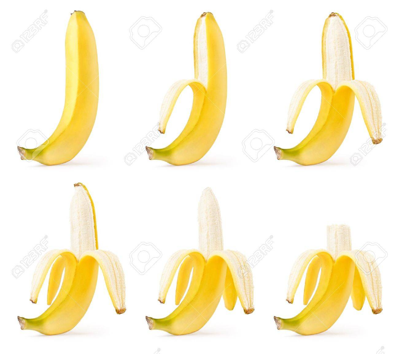 Peeling of bananas set isolated on white background Stock Photo - 8874111
