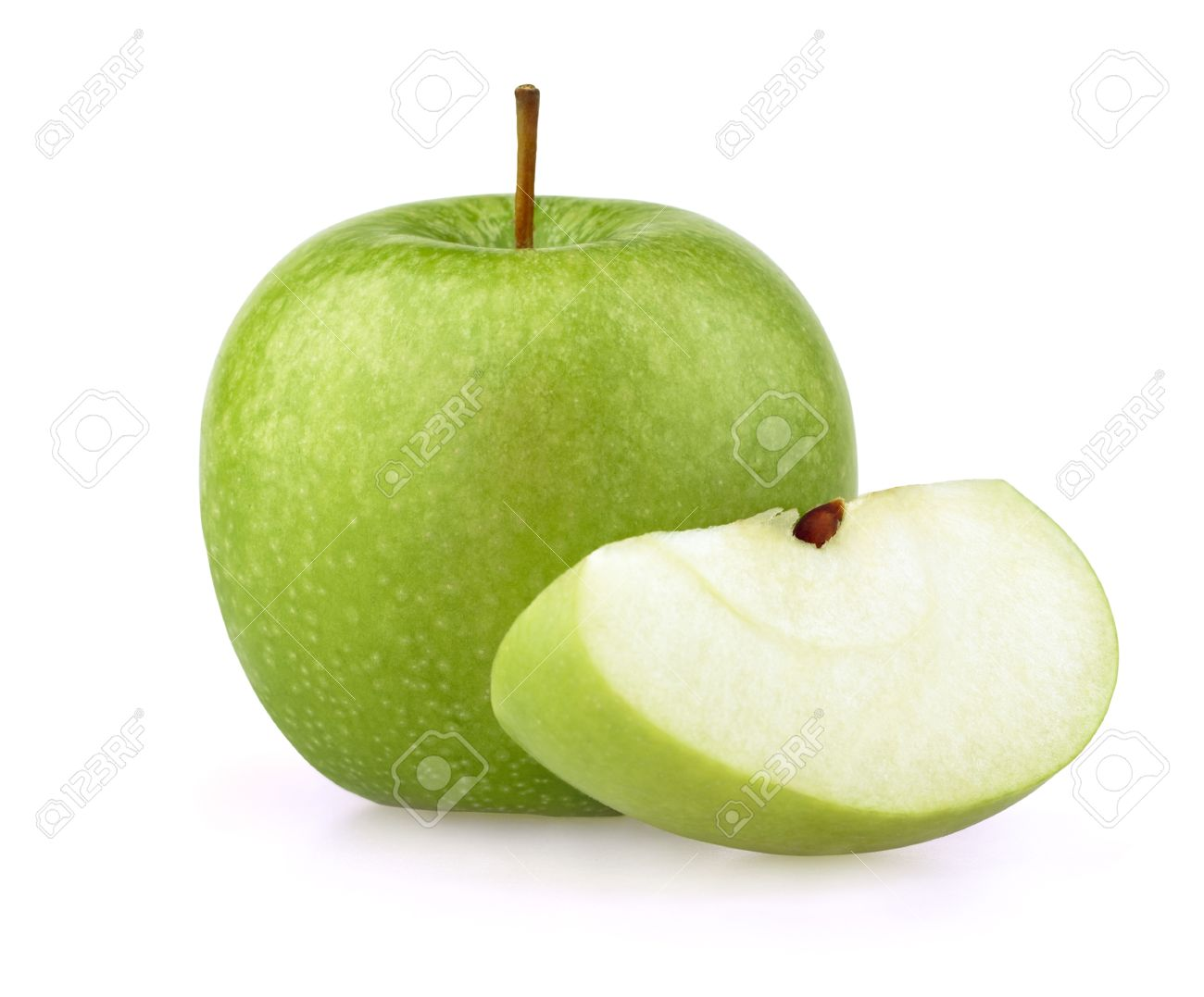 green apple fruit. green apple with half stock photo - 9779924 fruit