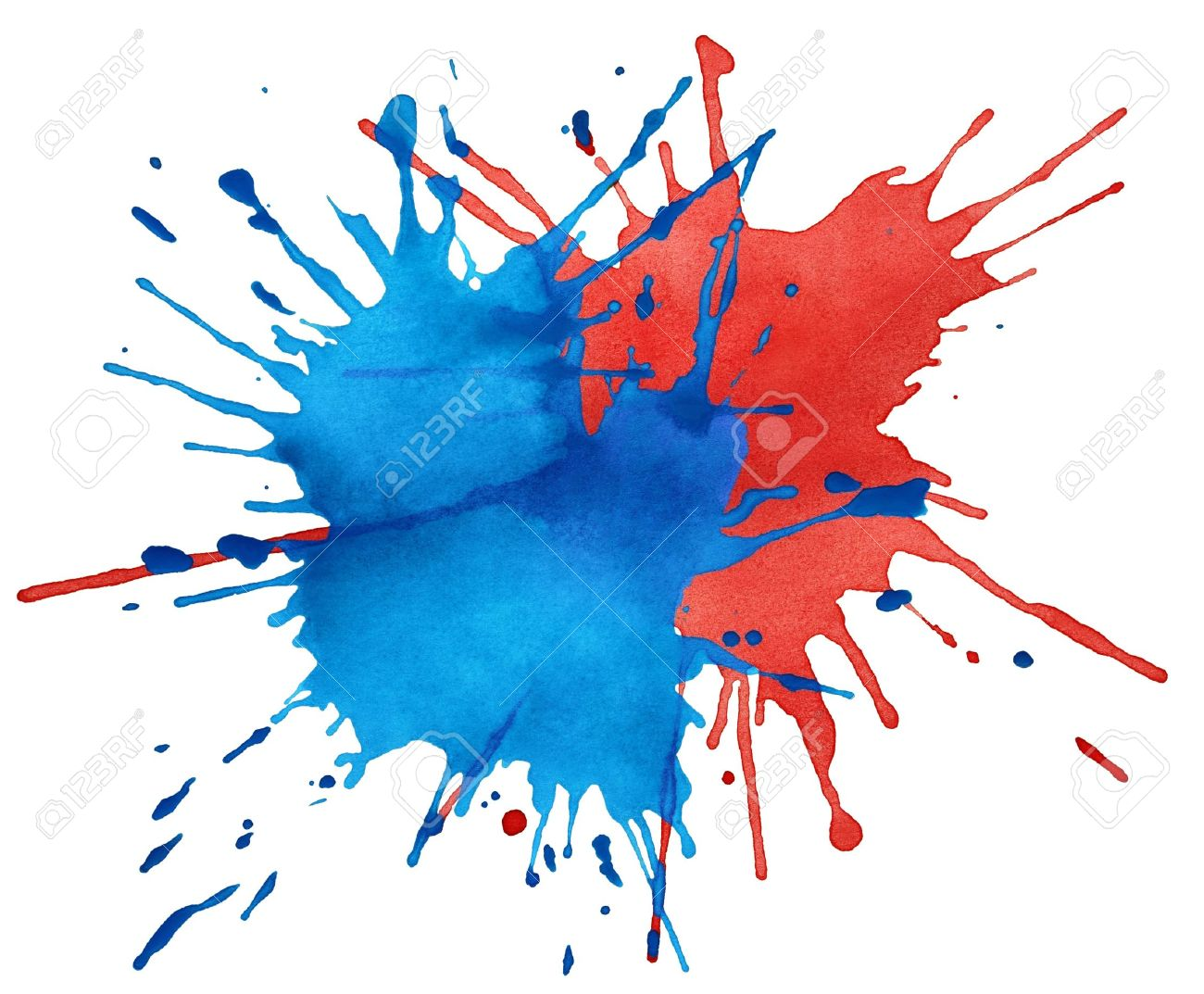 Blot of blue and red watercolor isolated on white Stock Photo - 13356312