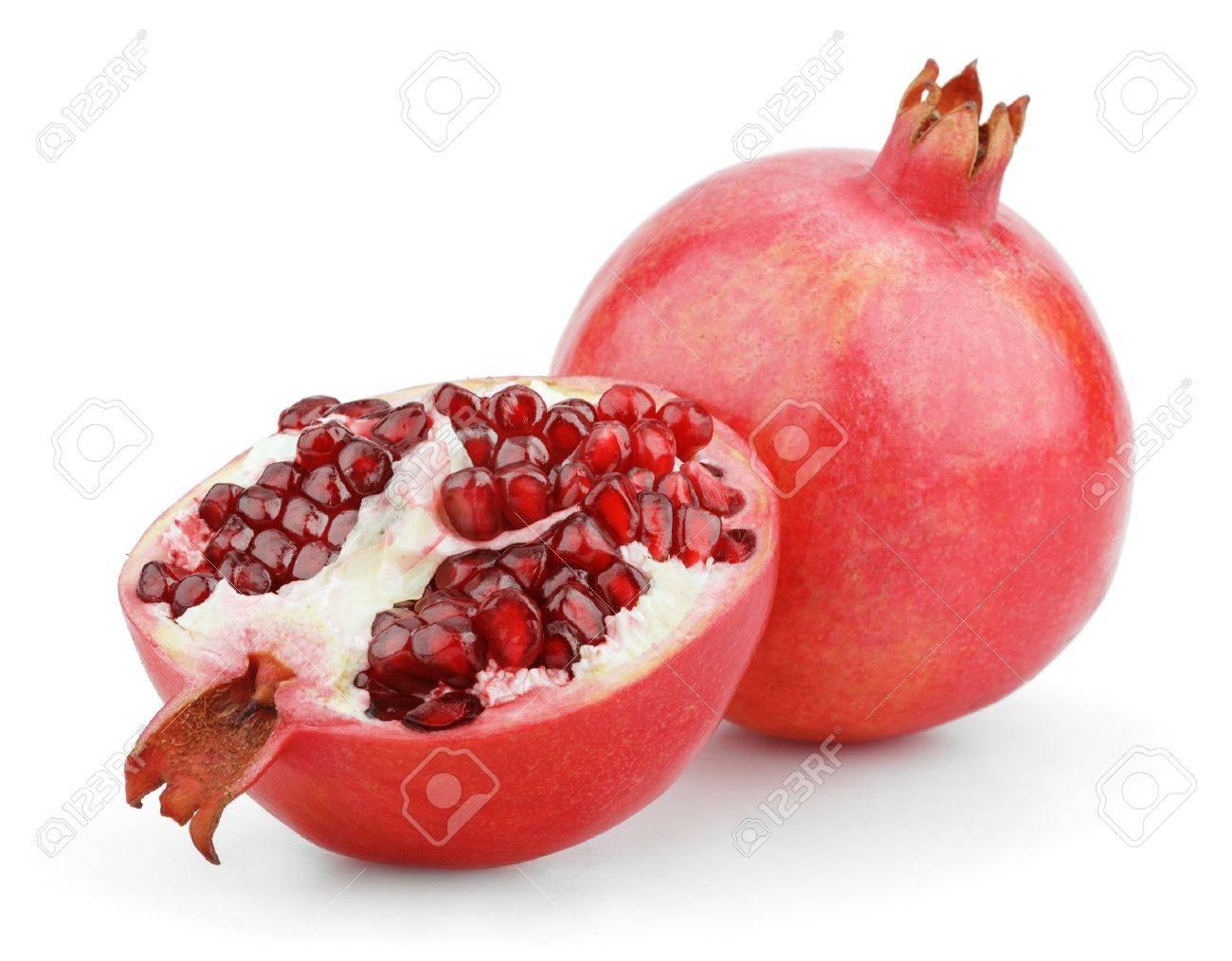 Ripe pomegranate fruit with half isolated on white background - 15021075