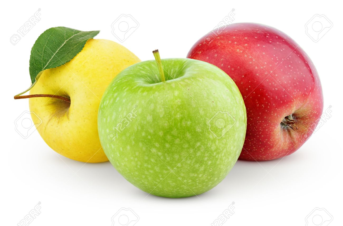 green and red apples. yellow, green and red apples isolated on white with clipping path stock photo - 30567417