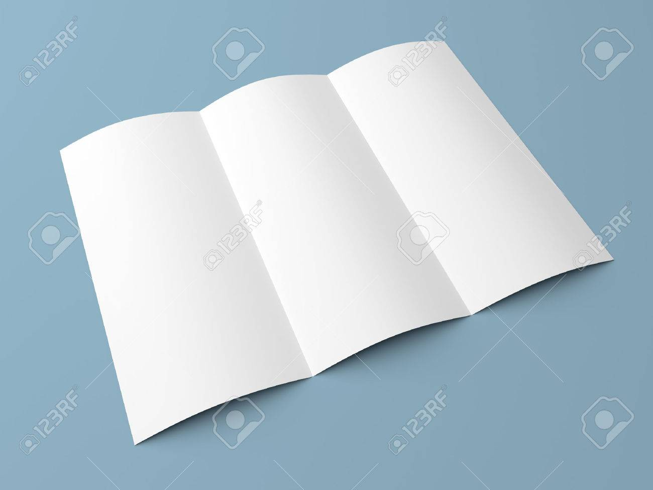 leaflet blank tri fold white paper brochure mockup on blue