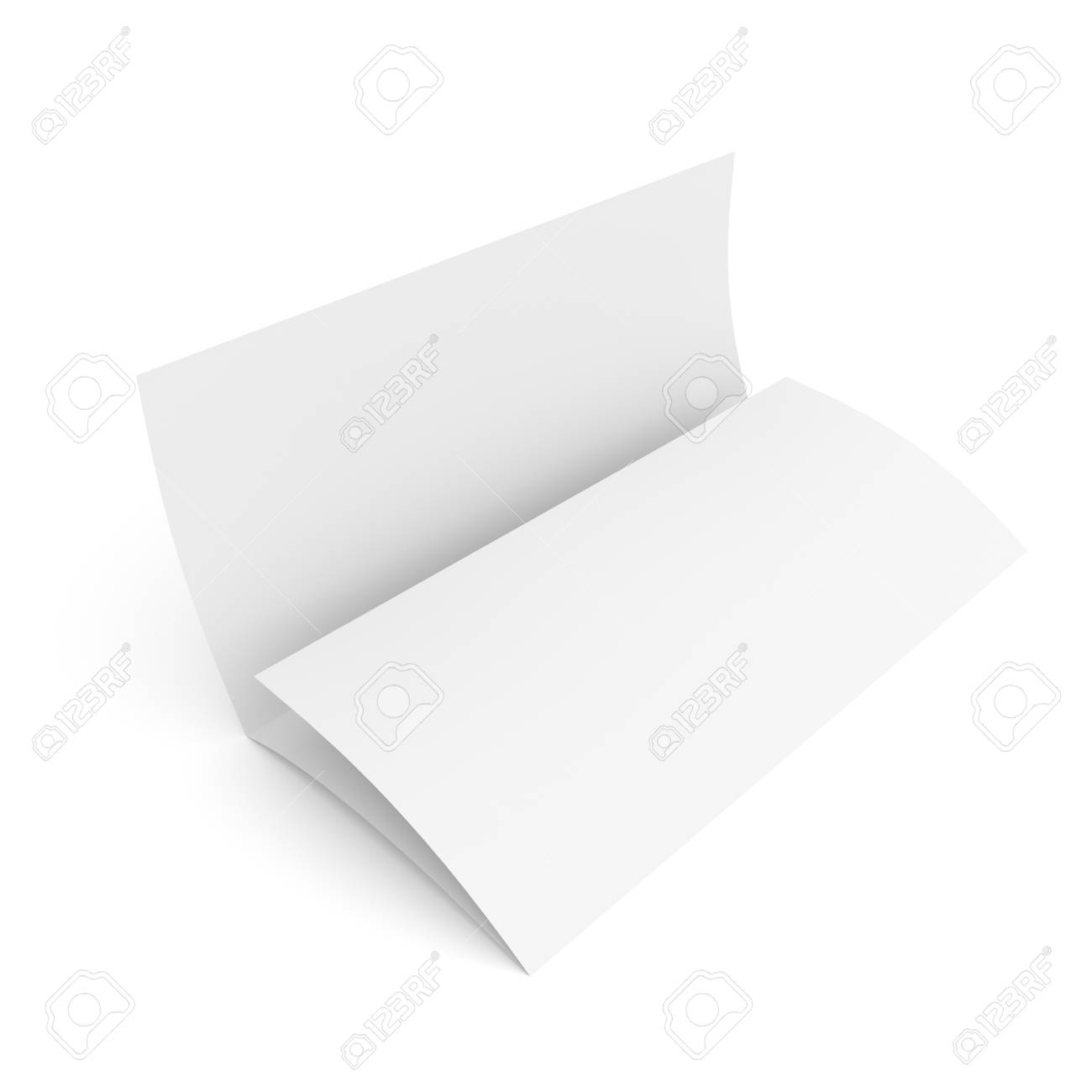 leaflet blank tri fold paper brochure mockup isolated on white