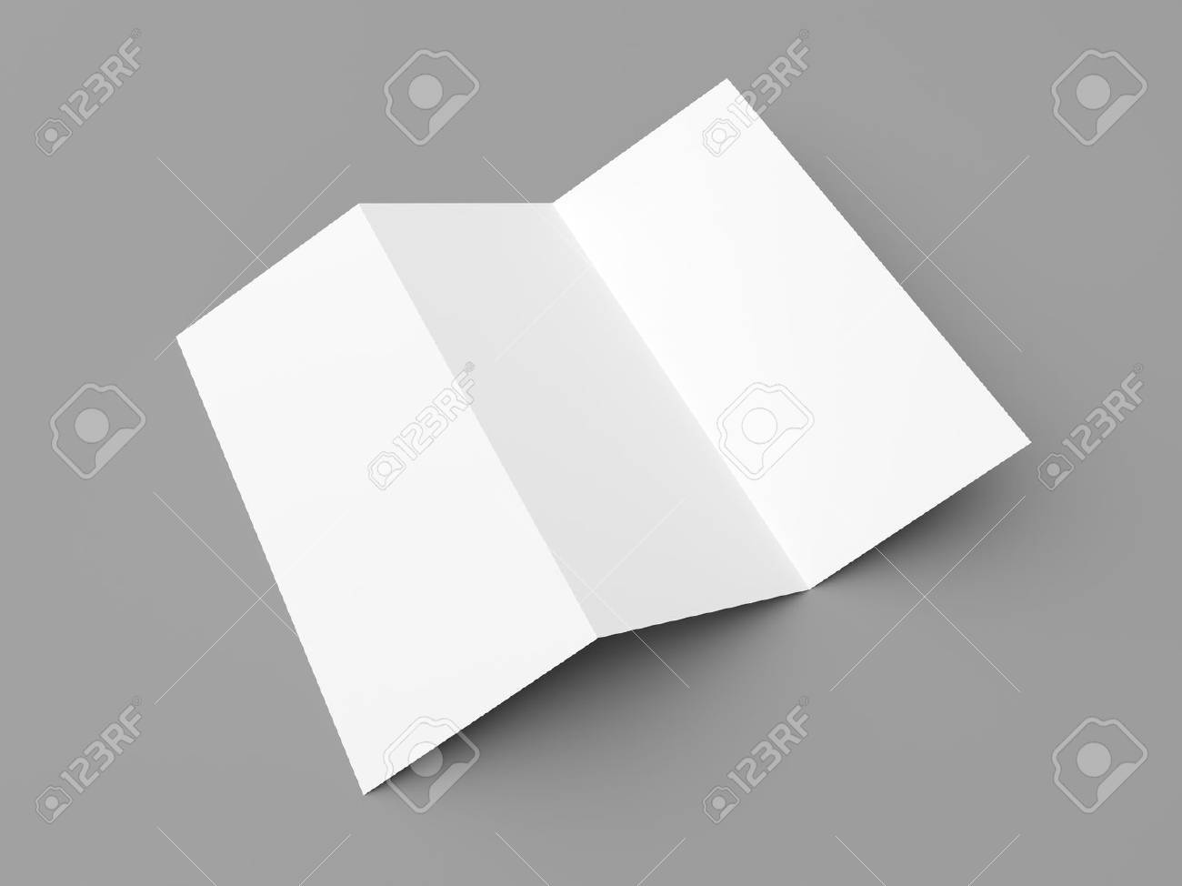 leaflet blank tri fold white paper brochure mockup on grey background stock photo 43667265