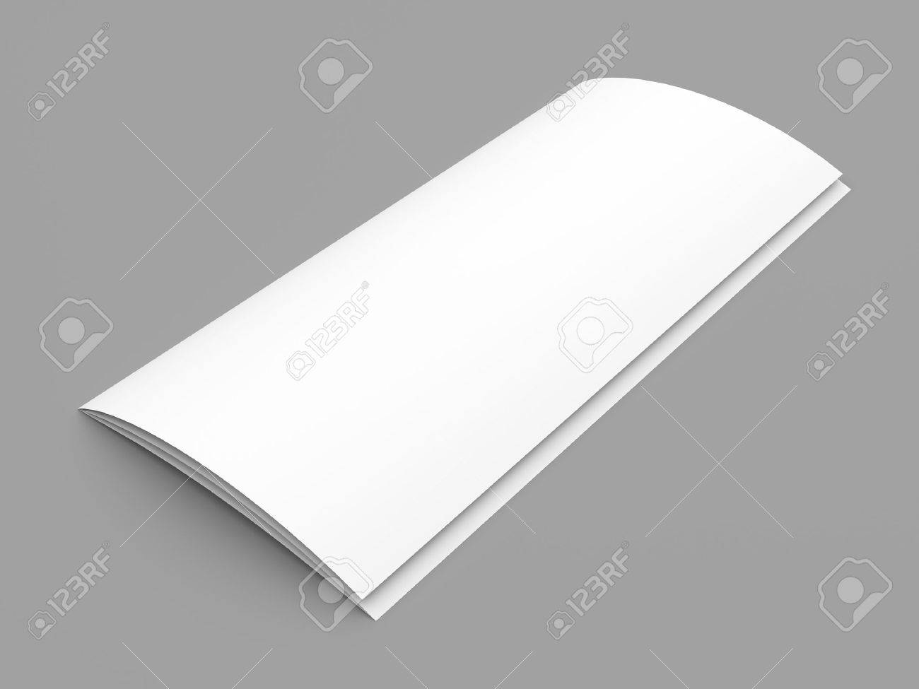 closed leaflet blank tri fold white paper brochure mockup on stock