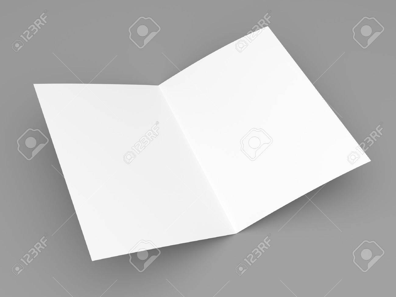 Blank Folded Flyer, Booklet, Postcard, Business Card Or Brochure ...