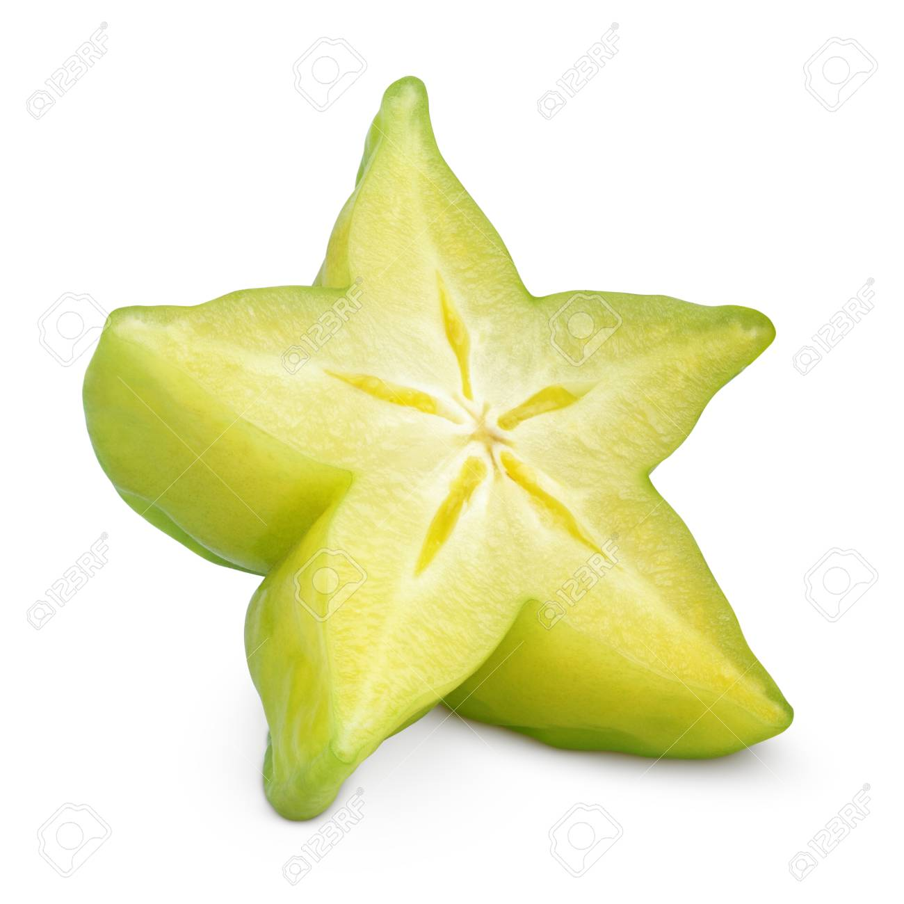 slice of carambola fruit or starfruit isolated stock photo picture