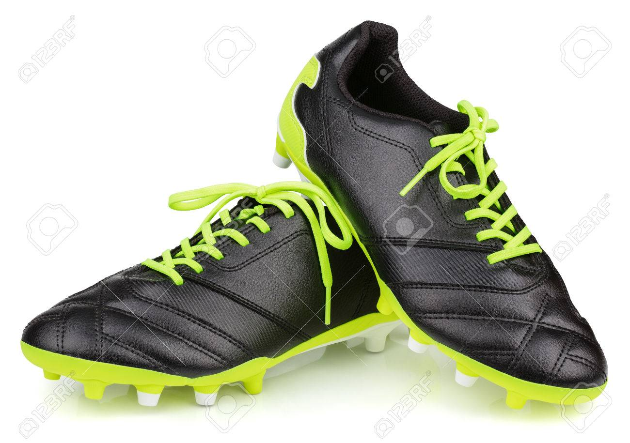 bb31aa770b7 Pair of new unbranded black leather football shoes or soccer boots isolated  on white background with