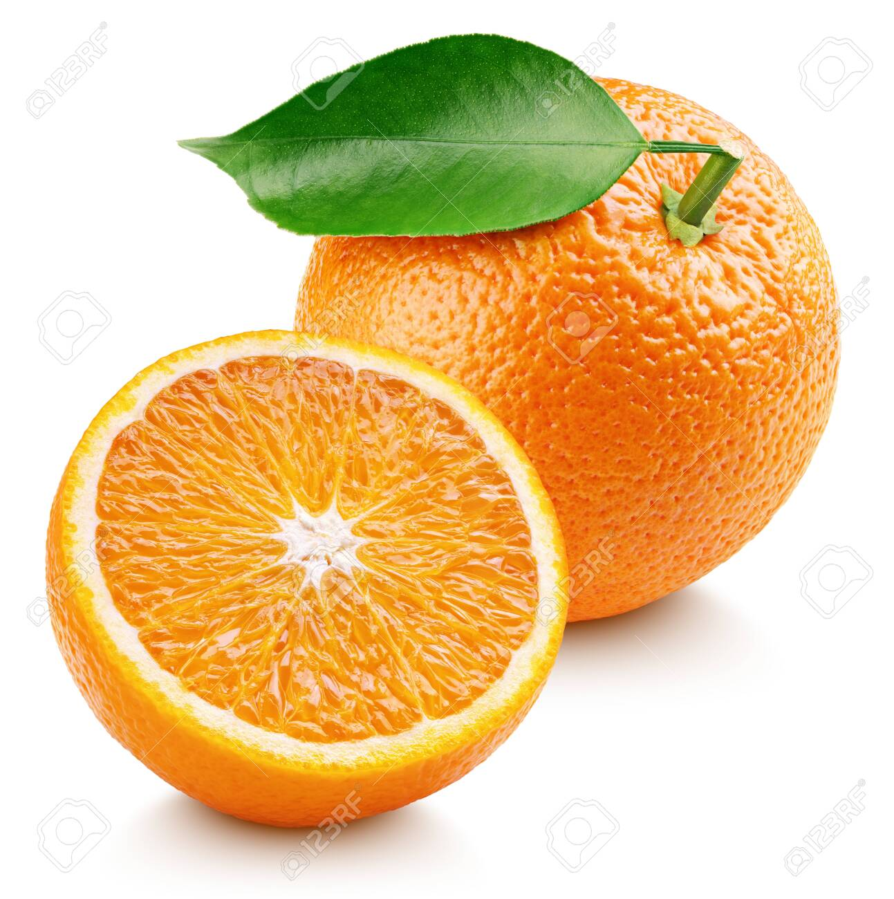 Whole ripe orange citrus fruit with leaf and orange half isolated on white background. Oranges with clipping path. Full depth of field. - 123615250