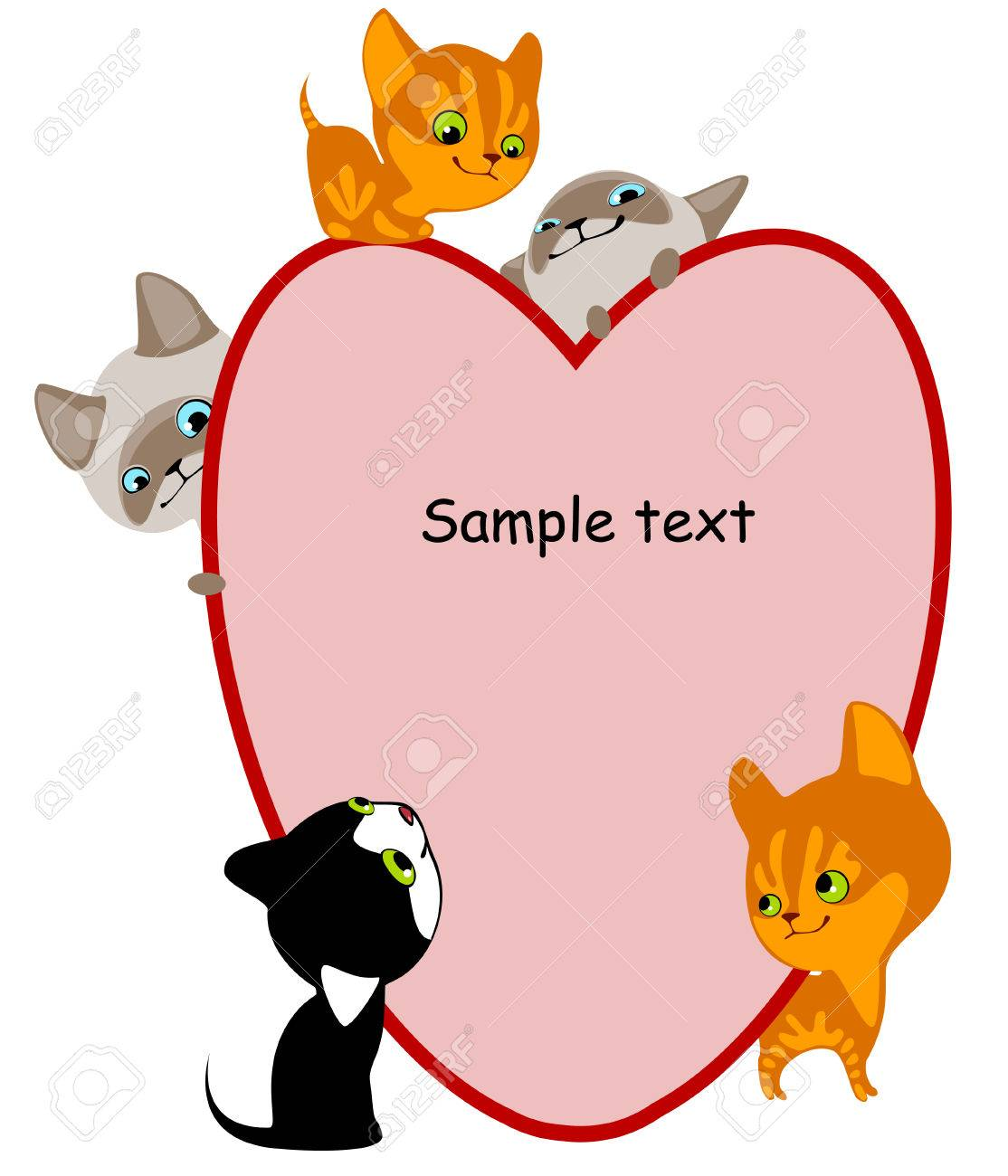 different kittens. Place for your text hear. similar to the portfolio Stock Vector - 8789065