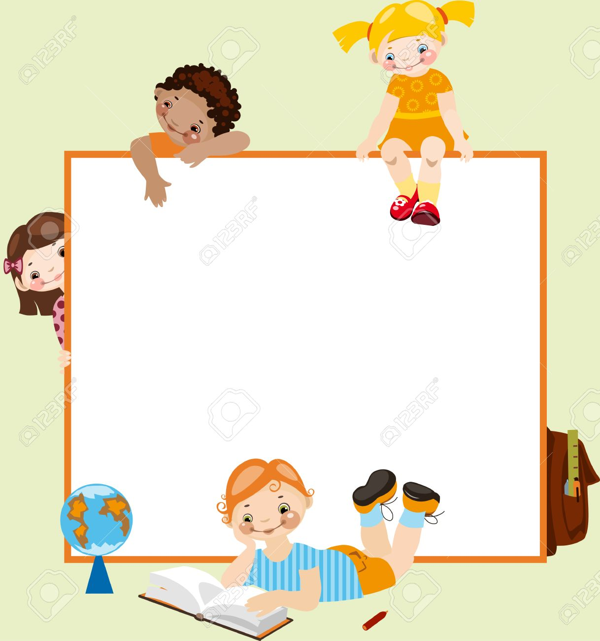 School childhood. Place for your text. on a green background Stock Vector - 9103250