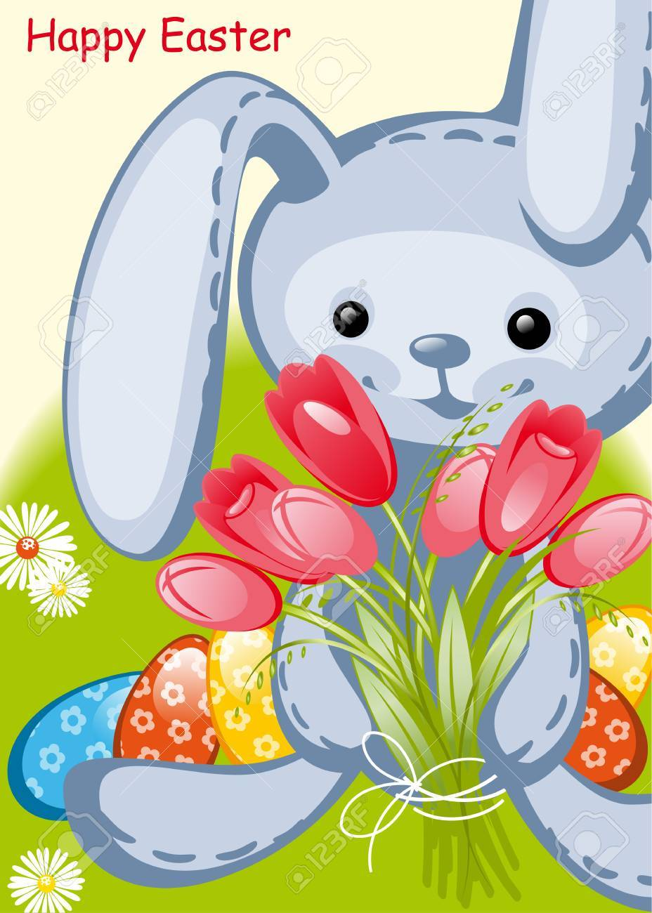 toy rabbit and tulips happy easter card royalty free cliparts