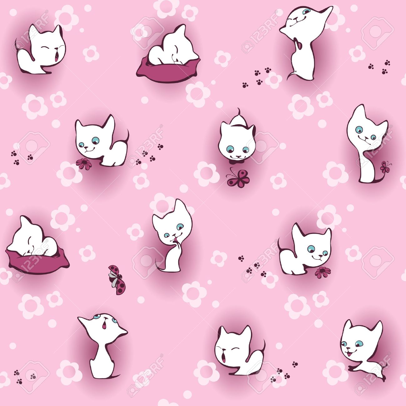 White Kitten In Flowers Wallpaper Pink Royalty Free Cliparts