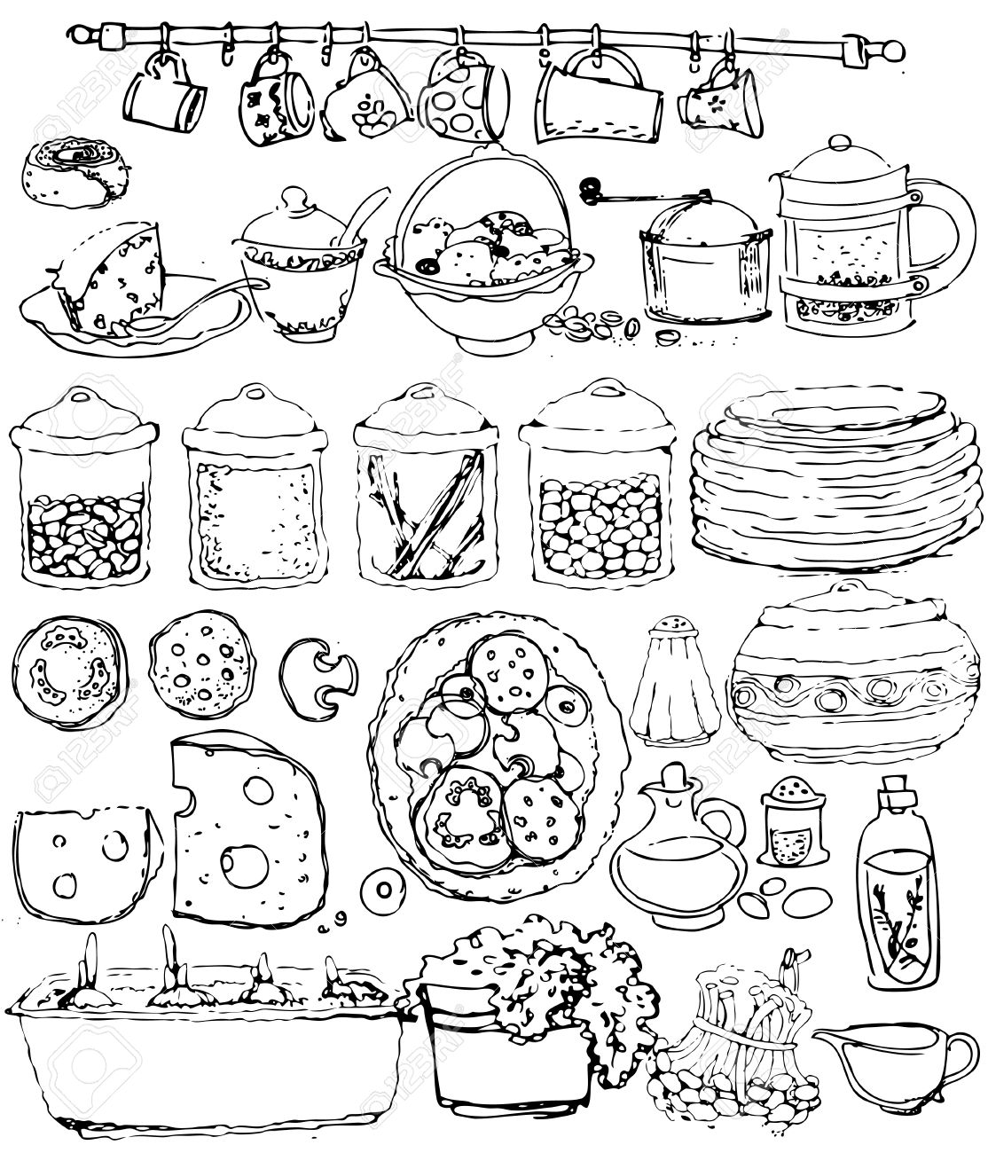 Collection Kitchen Items. Hand Drawn Stock Vector   9305021