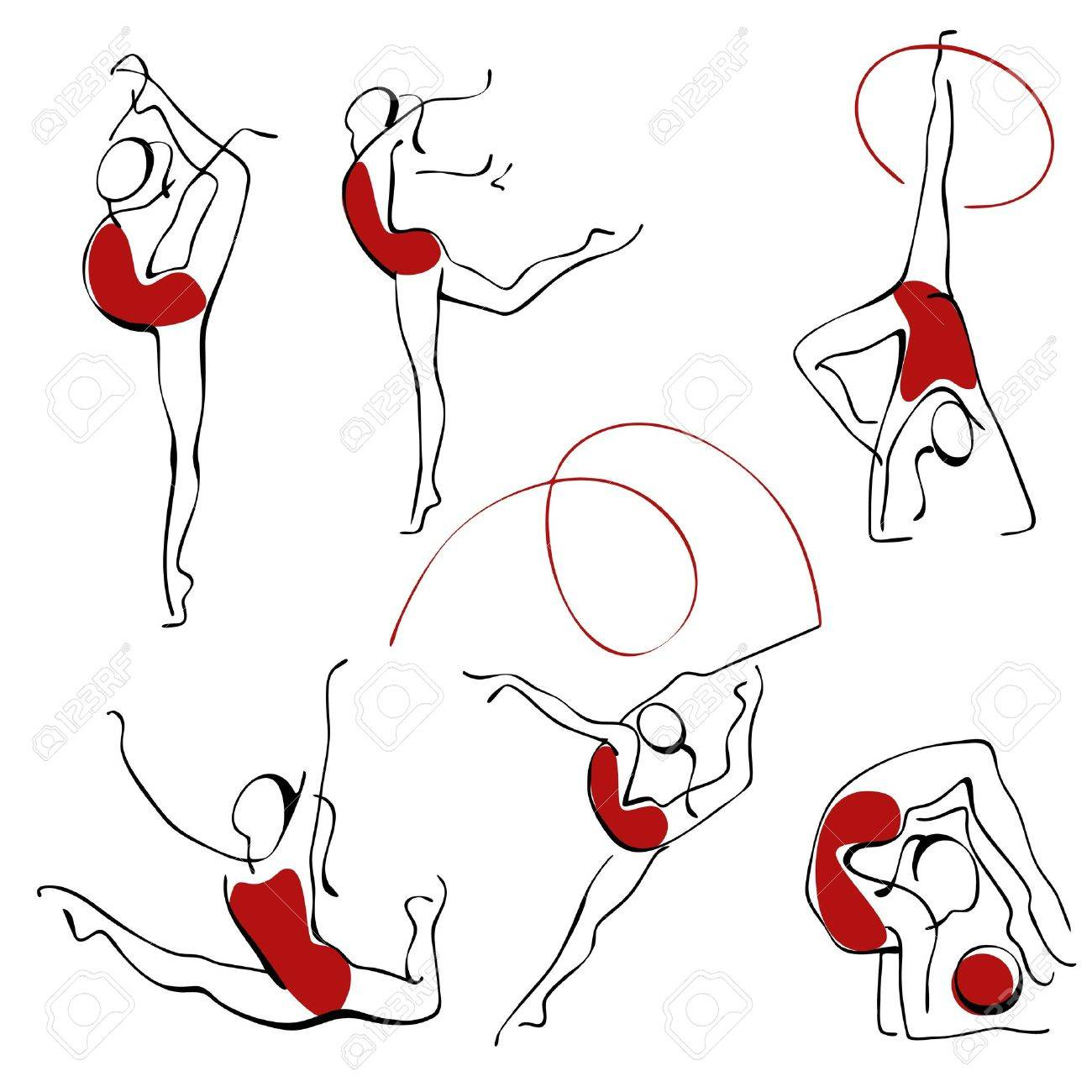 rhythmic gymnastics. set gray figures 3. Stock Vector - 9387115