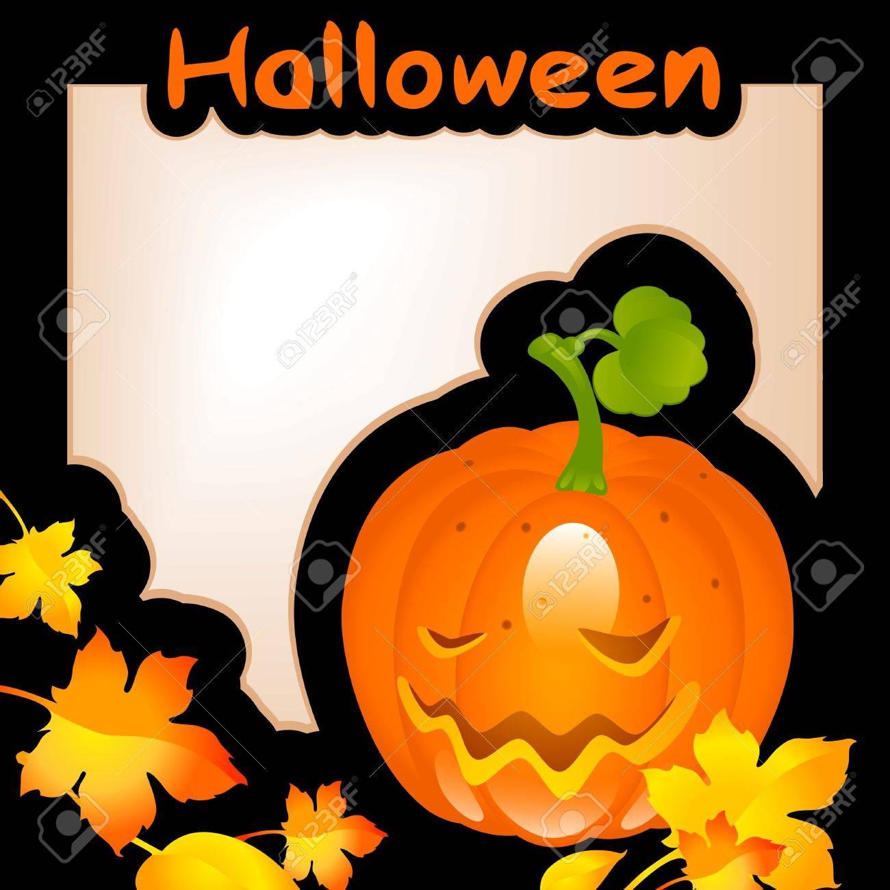 halloween pumpkin. banner on black background Stock Vector - 10475497