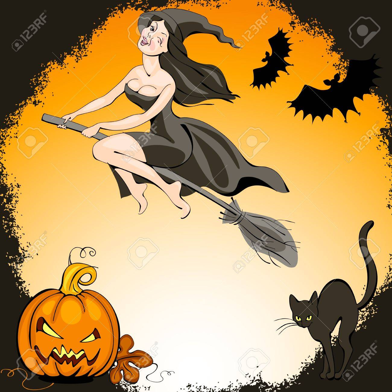 Conjunto De Halloween Guapa Bruja En Una Escoba Y El Murcilago