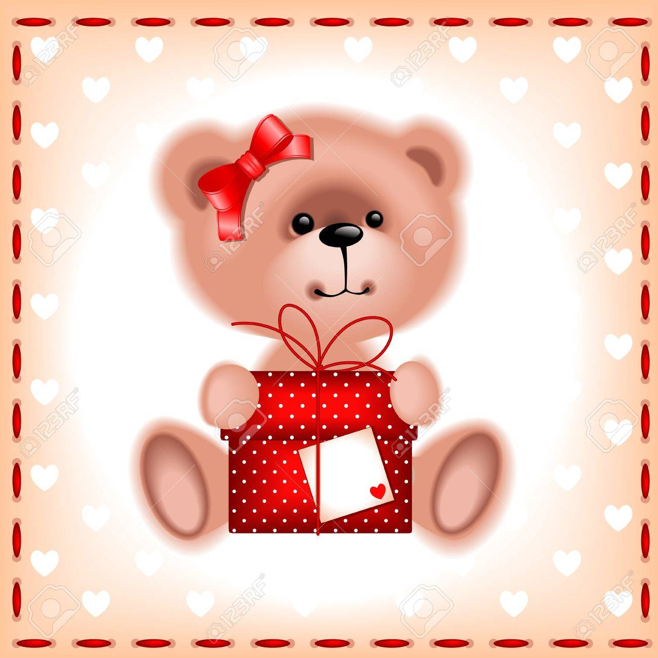 holiday cards. teddy bear girl with a gift on the beige background with hearts - 11068801