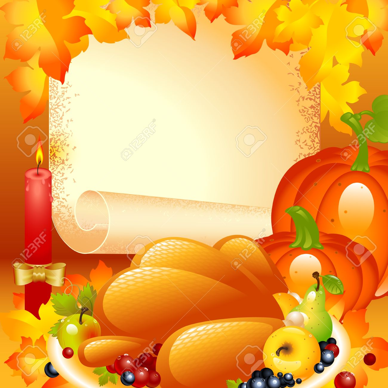 Thanksgiving card. background with turkey, the composition of fruits and vegetables in the background of the old roll of paper and a candle with a bow on top autumn leaves. - 11169327