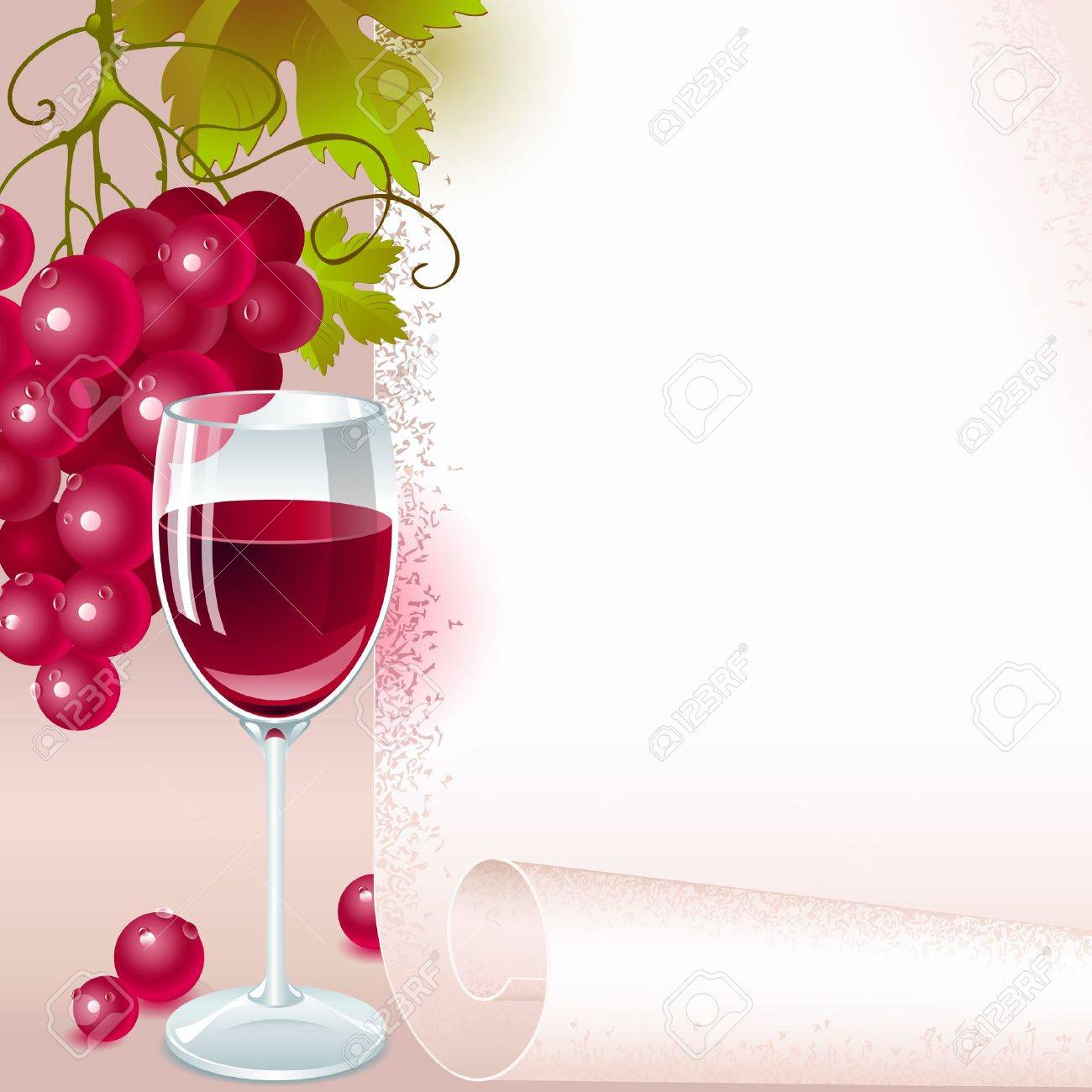 brush of red grapes with leaves and glass of red wine on the background of your space for text. menu - 11169331