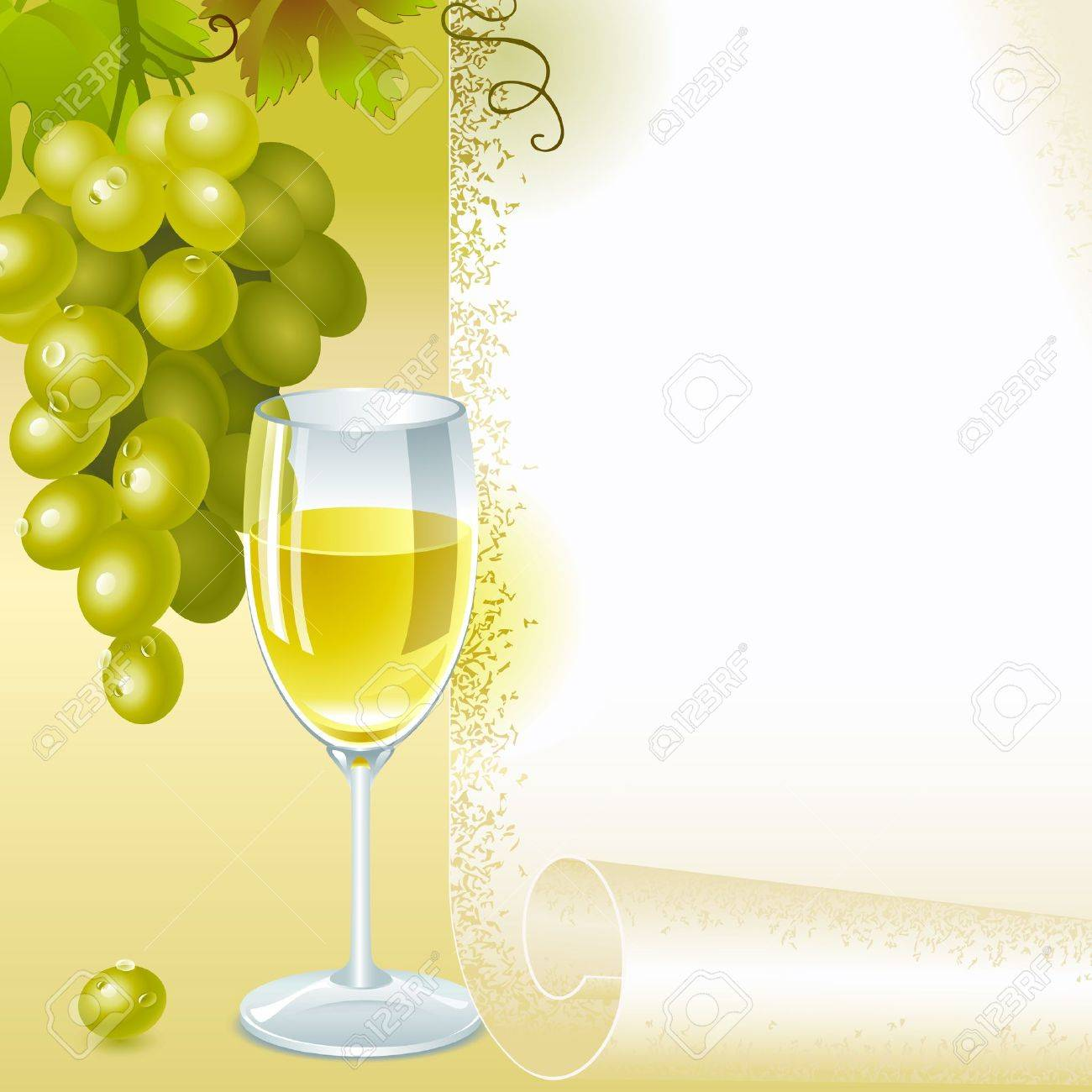 brush of green grapes with leaves and glass of white wine on the background of your space for text. menu - 11169330