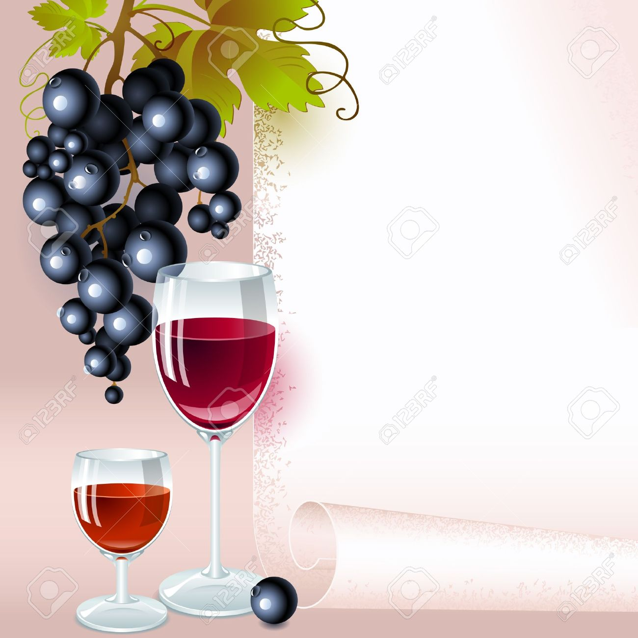 brush of black grapes with leaves, glass of red wine and glass of  brandy on the background of your space for text. menu Stock Vector - 11169332