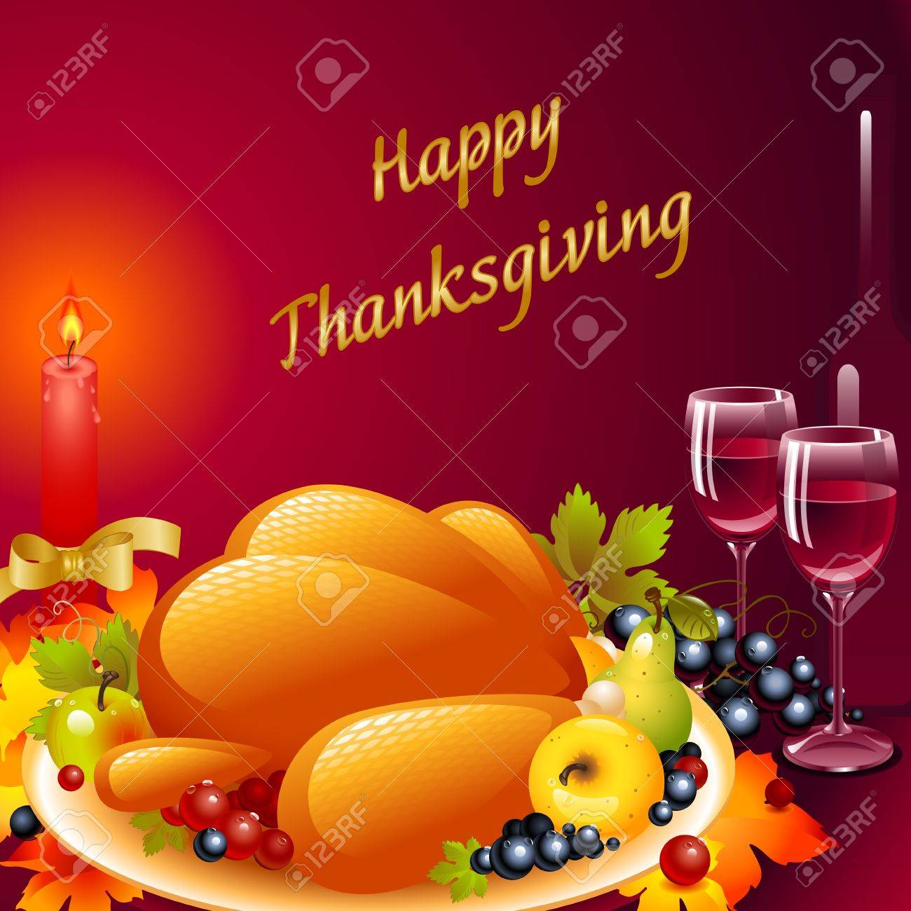 Thanksgiving cards. background with turkey, the composition of fruit and a glass of wine with a candle with a bow on a ruby background with the words Happy Thanksgiving - 11169334