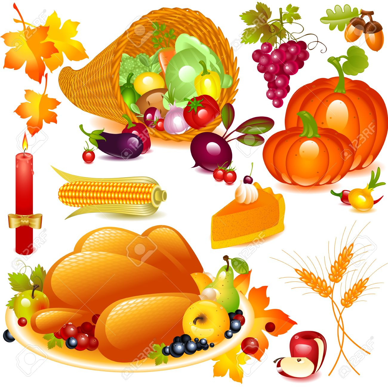 Thanksgiving set. cornucopia with pumpkin and other vegetables, and traditional elements of Thanksgiving. Vector graphics objects isolated on white background - 11236914