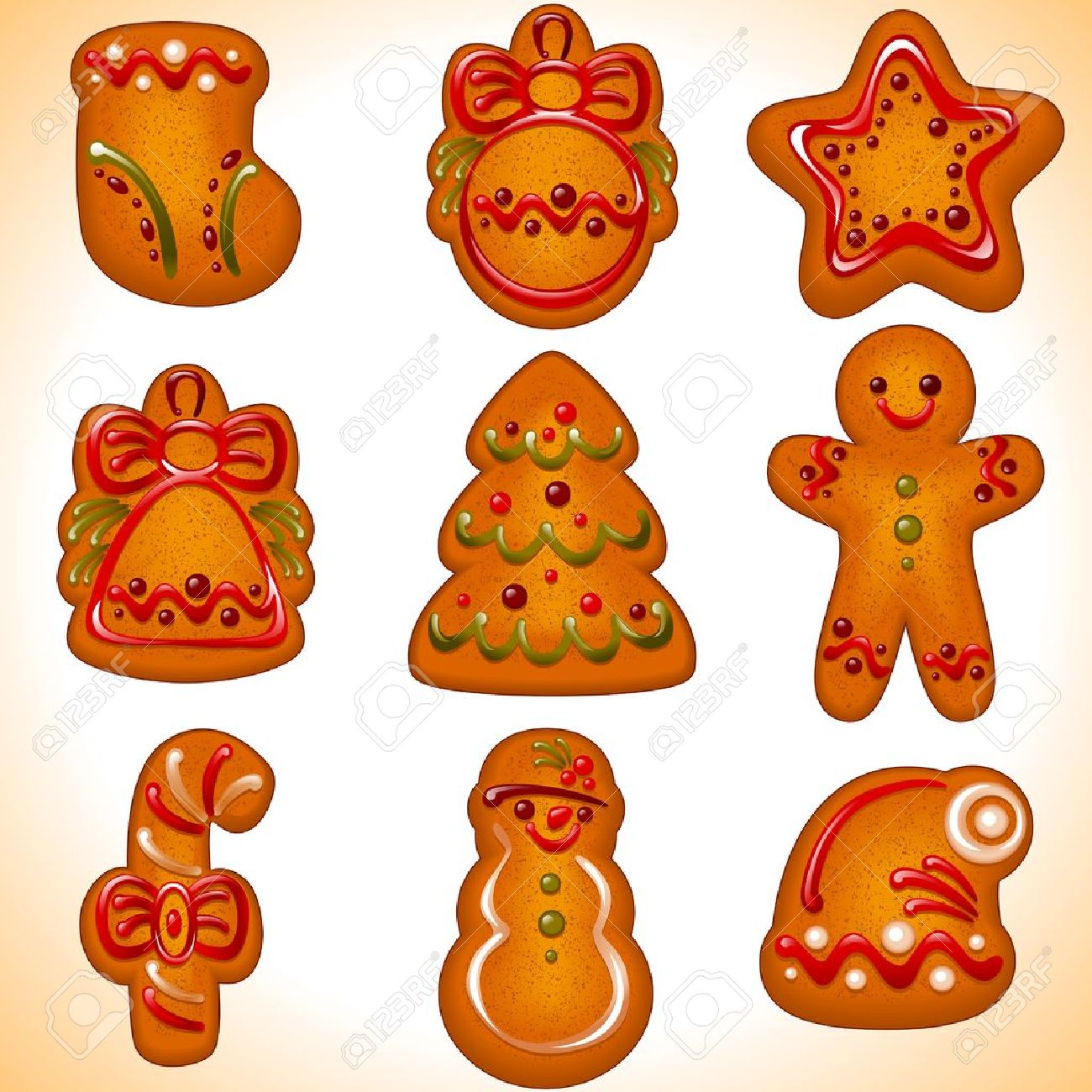 collection of the Christmas cookies isolated on white background.Vector illustration - set of christmas icons. - 11355034