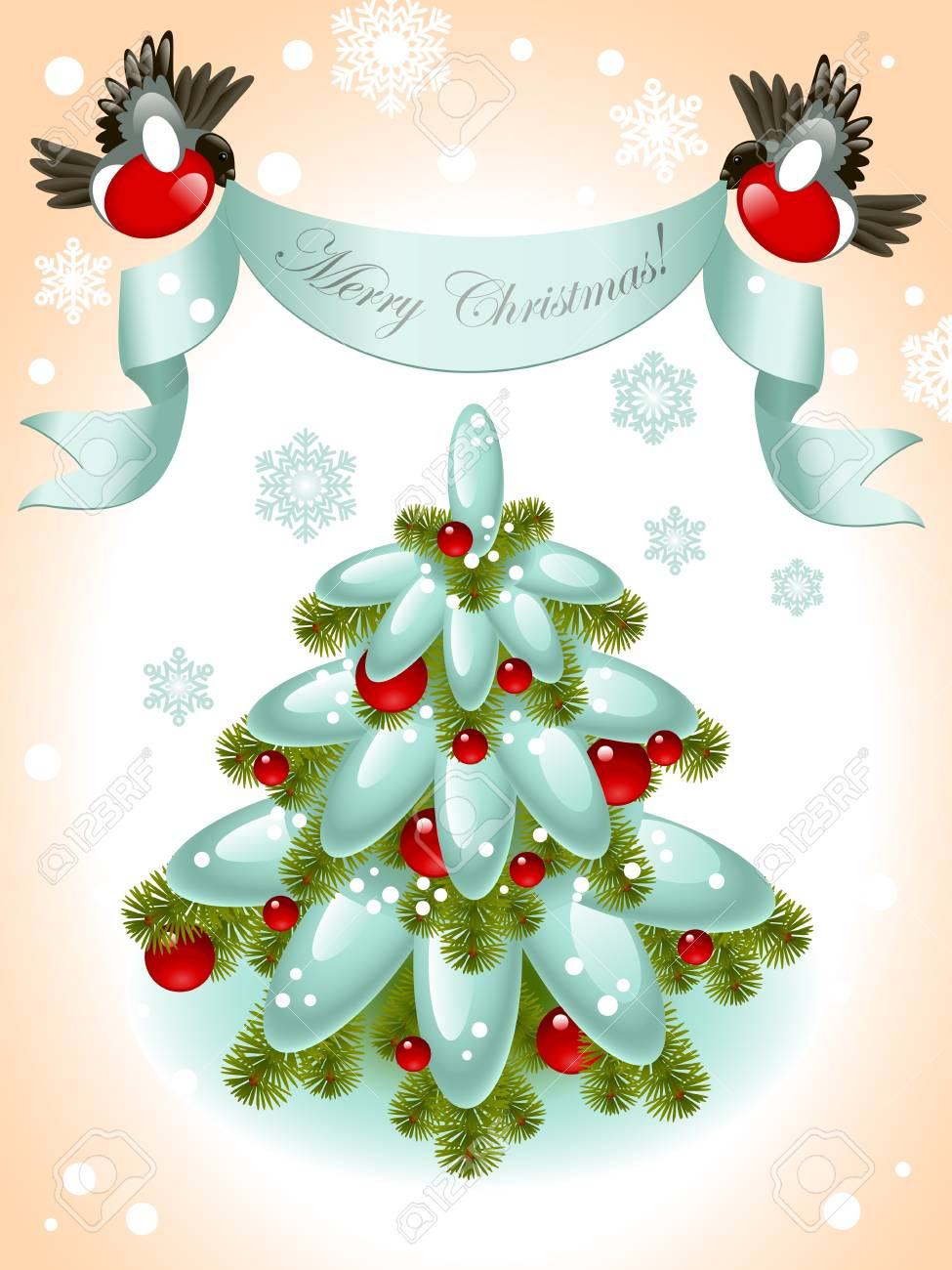 christmas tree with red ball on the background of snowflakes. top of ribbon to the birds and the words Merry Christmas. Vector illustration. Stock Vector - 11355036