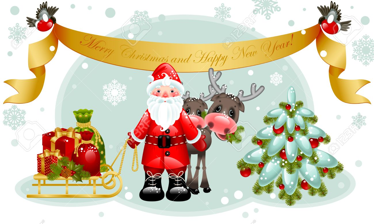 Vector Illustration Christmas Cardnta Claus With Gifts And