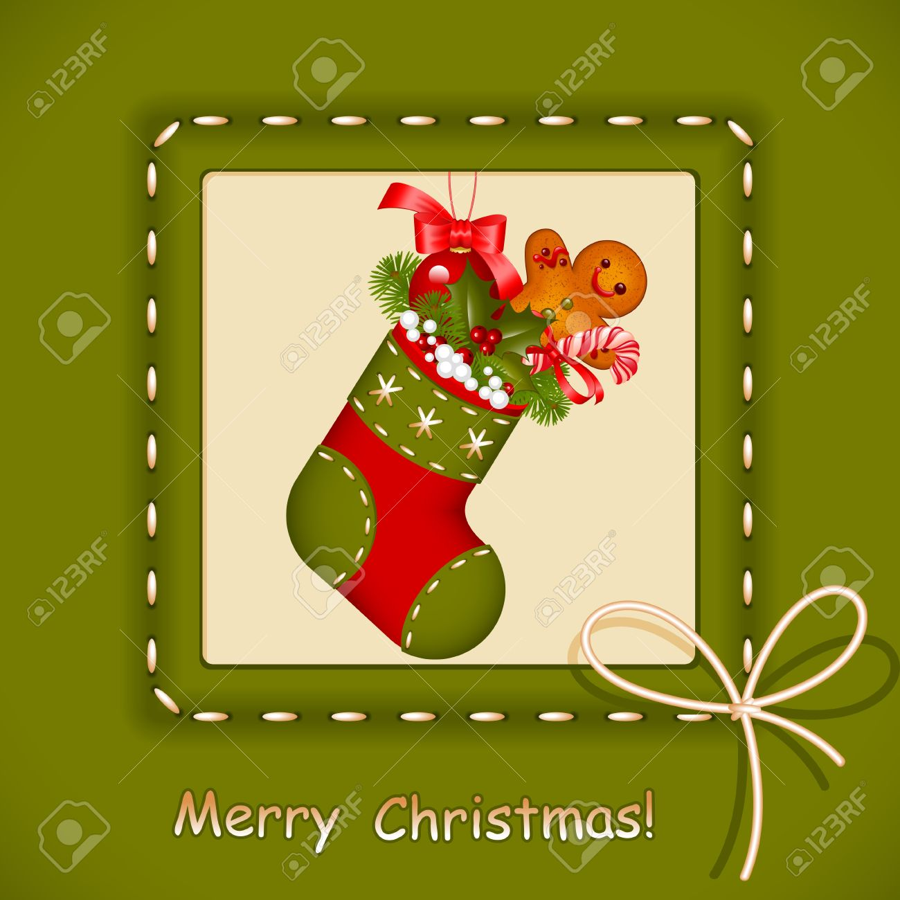 Christmas card. stocking with red ball christmas, cookies, candy and holly berry in frame with bow. Congratulation Merry Christmas. Vector illustration. - 11355047