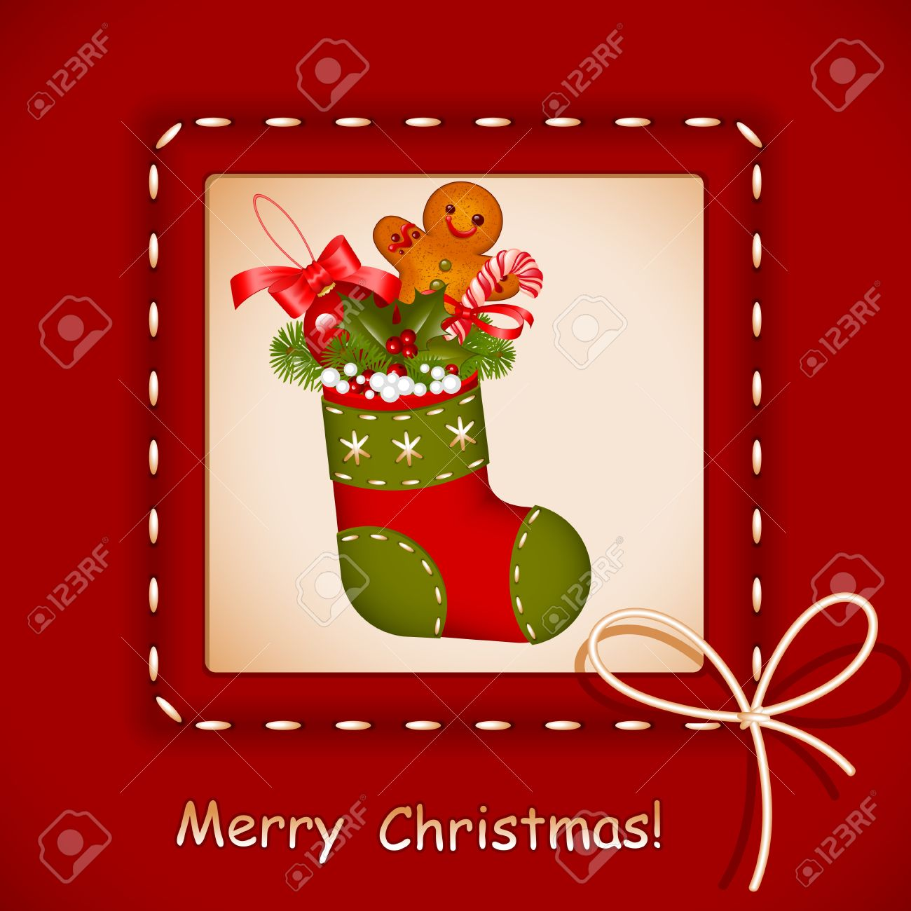 Christmas card. stocking with red ball christmas, cookies, candy and holly berry in frame with bow. Congratulation Merry Christmas. Vector illustration. - 11355046
