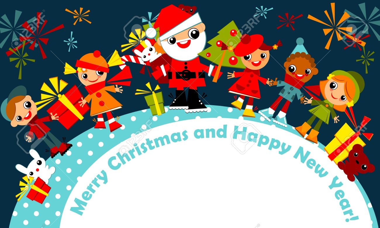 christmas greeting card.kids are among a circle, holding hands with Santa on a dark blue sky with fireworks, with the signature Merry Christmas and happy new year.Vector illustration. - 11595911
