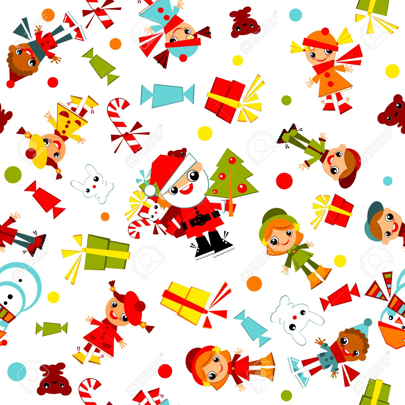Kids Christmas Wallpaperset Child With Santa Tree Snowman Candy And