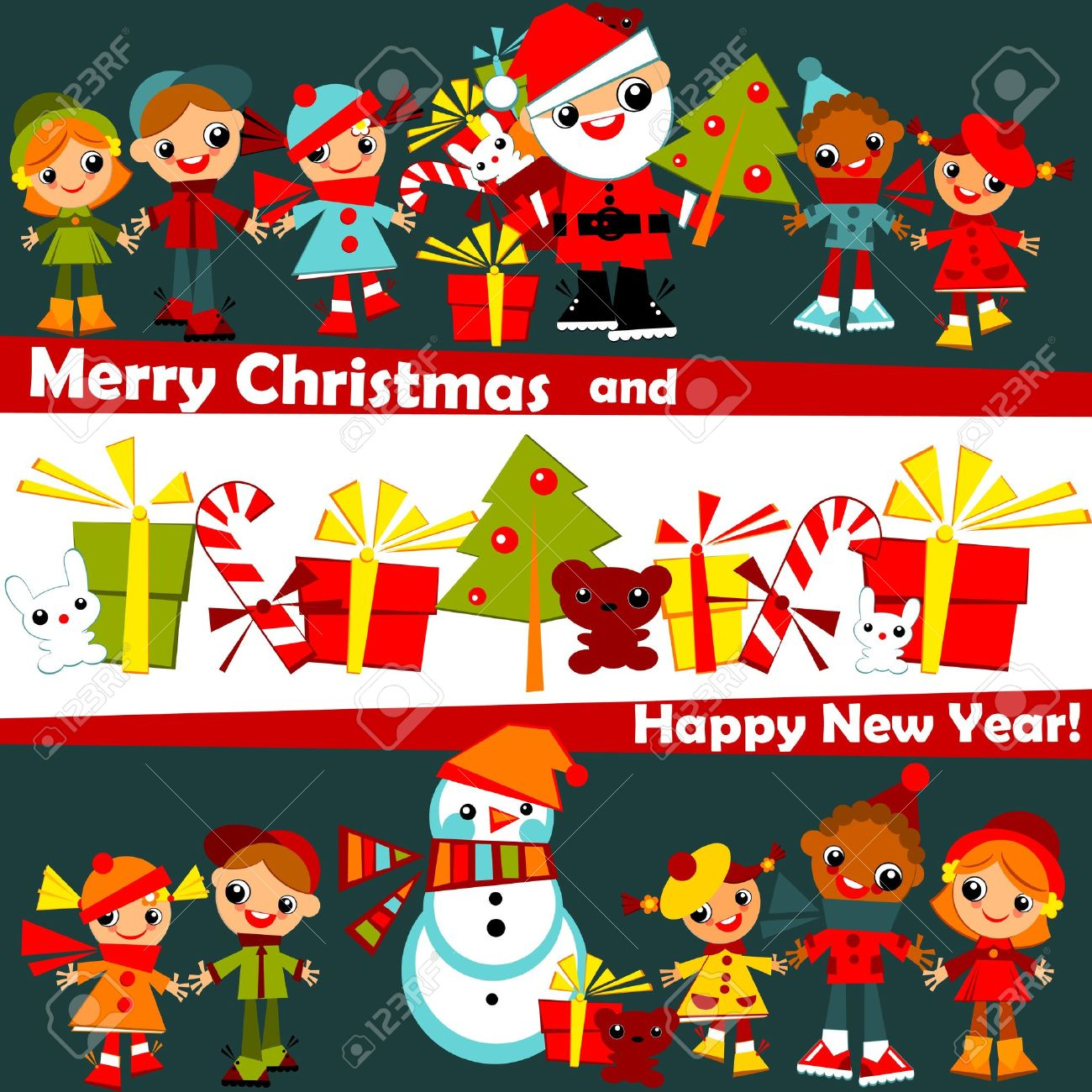 Kids Christmas Background.childs Holding Hands In Line With Santa ...