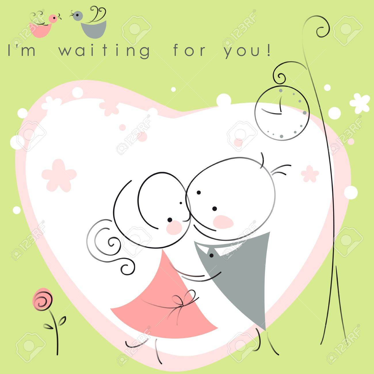 valentines couple,  meet on a date under the clock, green background of heart  . Vector illustration of Valentine card Stock Vector - 11595922
